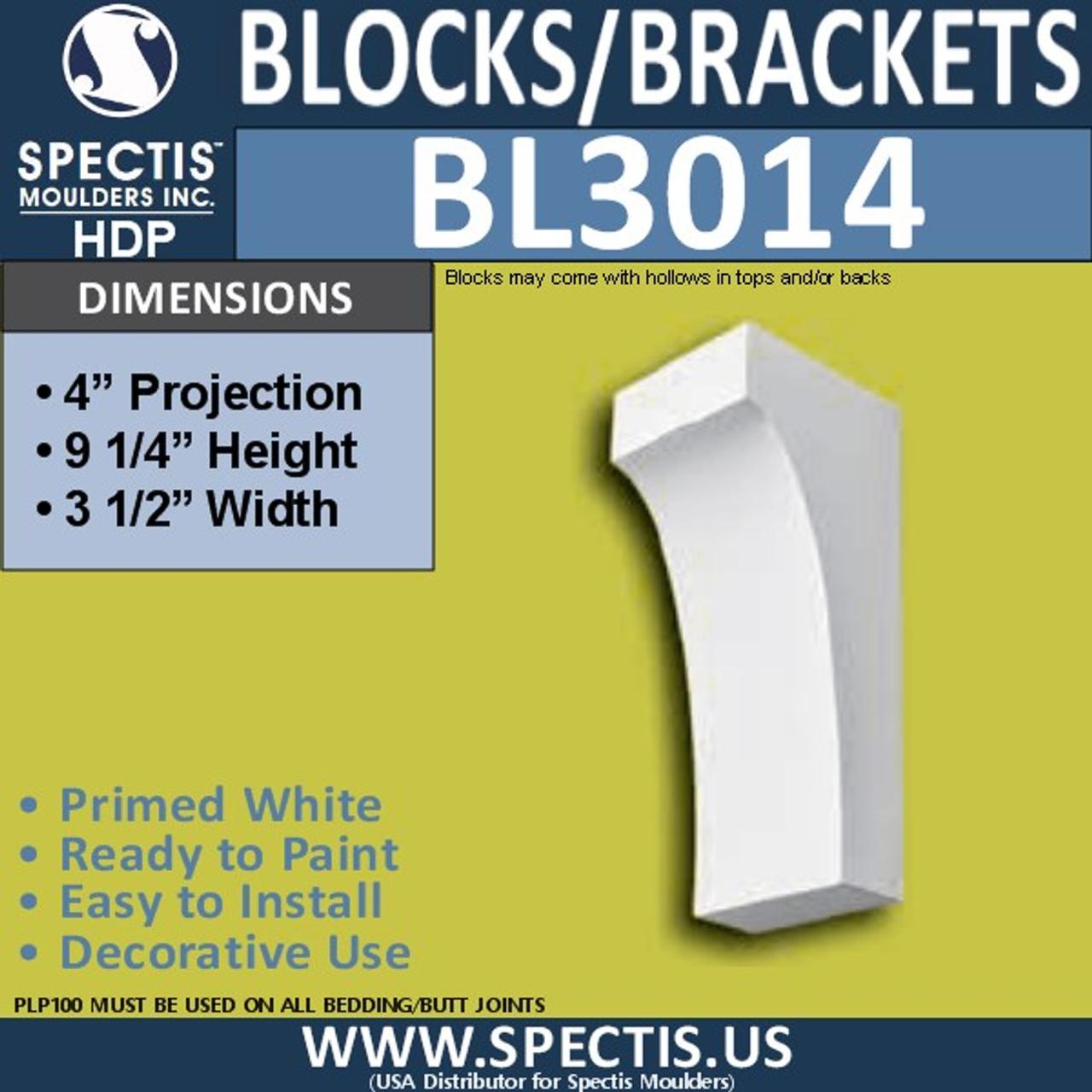 "BL3014 Eave Block or Bracket 3.5""W x 4""H x 9.25"" P"