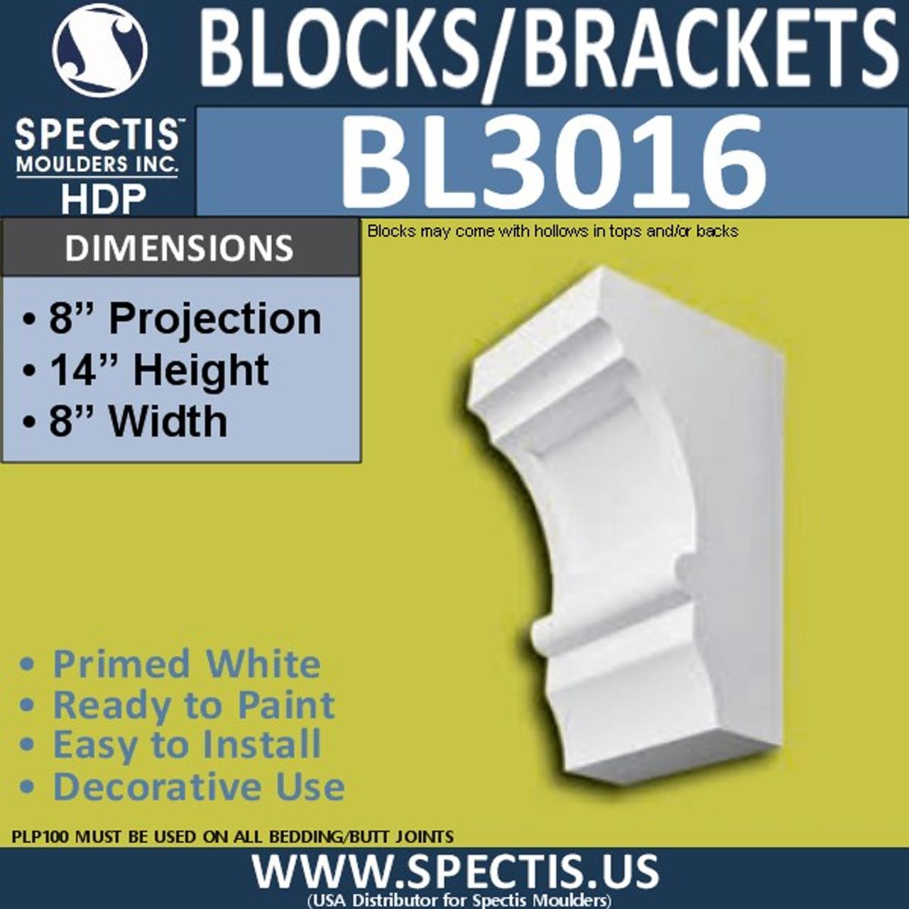 "BL3016 Eave Block or Bracket 8""W x 14""H x 8"" P"