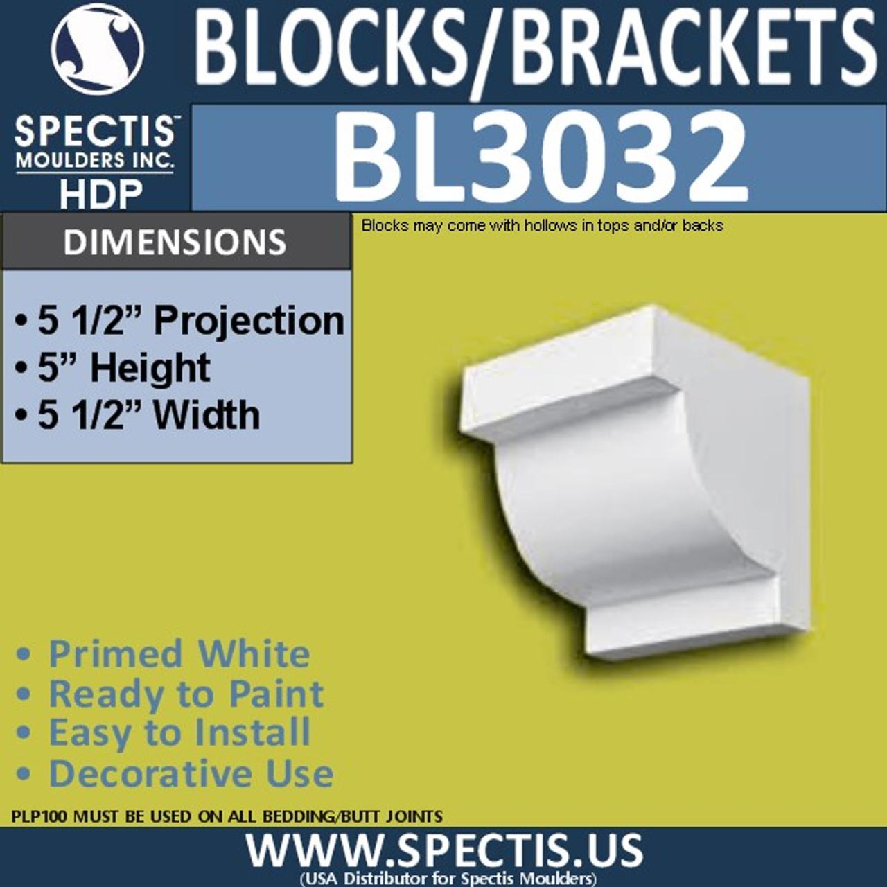 "BL3032 Eave Block or Bracket 5.5""W x 5""H x 5.5"" P"