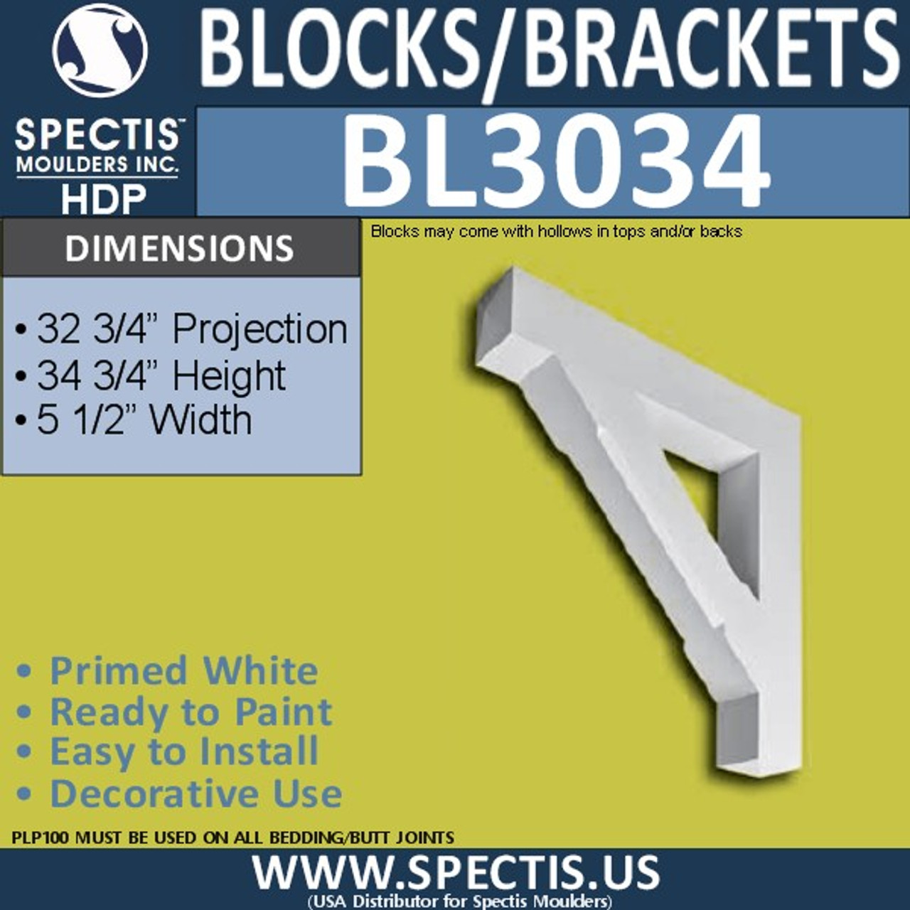 "BL3034 Eave Block or Bracket 5.5""W x 34.75""H x 32.75"" P"