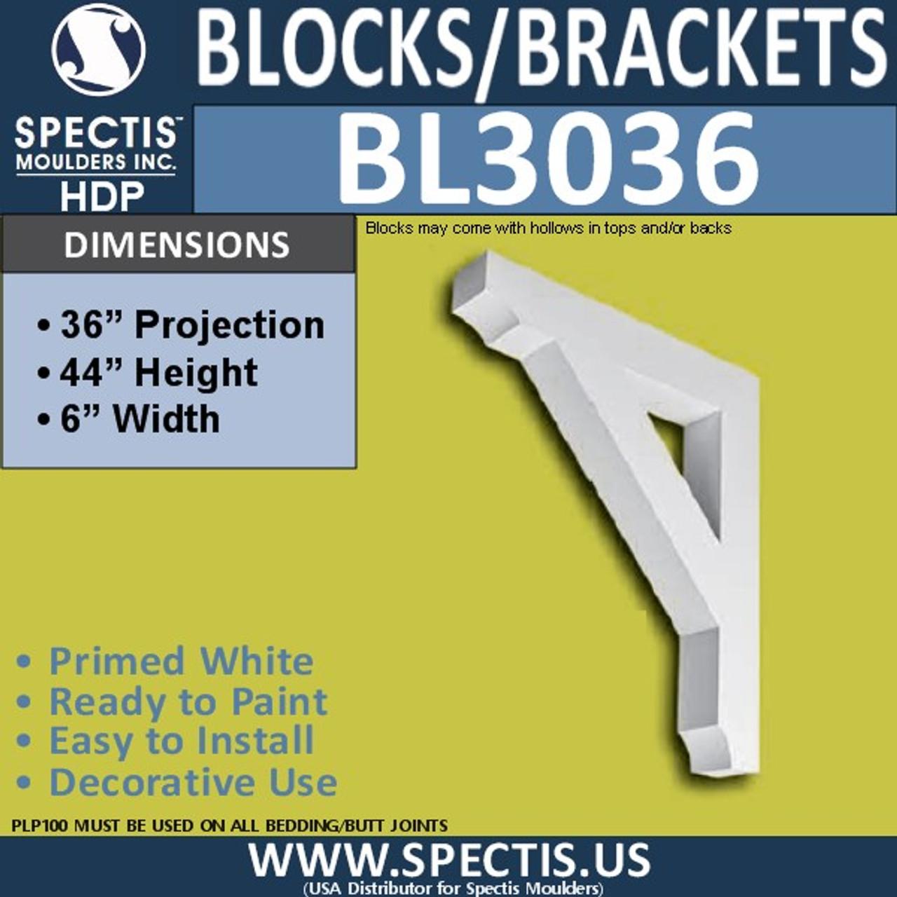 "BL3036 Eave Block or Bracket 6""W x 42""H x 36"" P"
