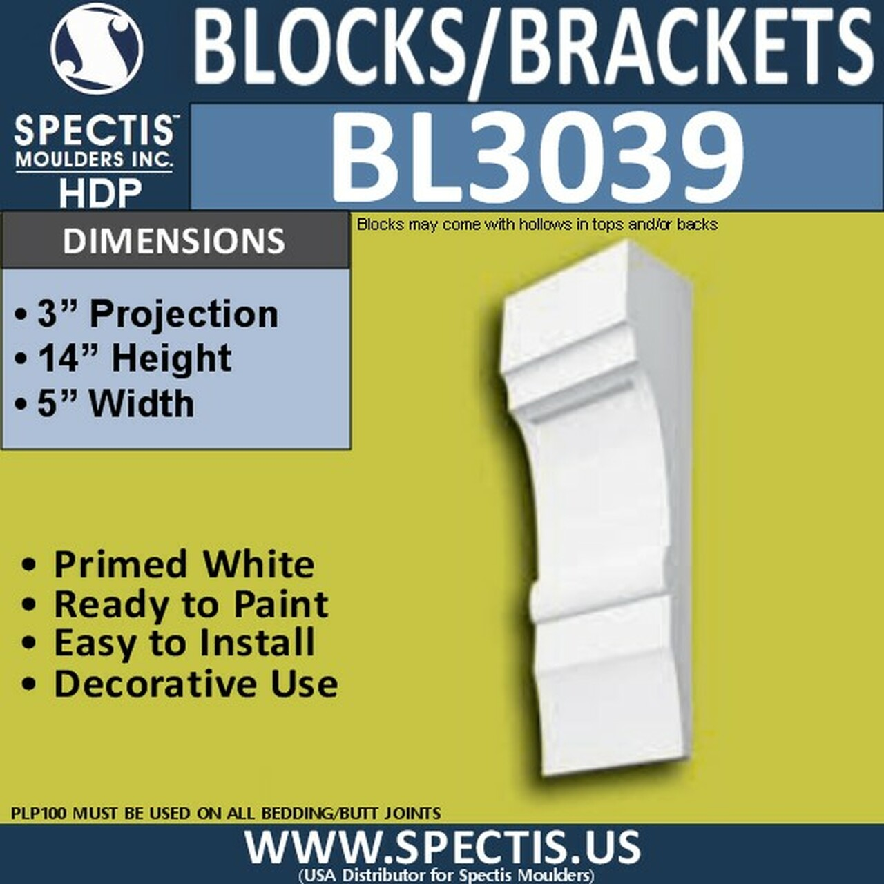 "BL3039 Eave Block or Bracket 5""W x 14""H x 3"" P"