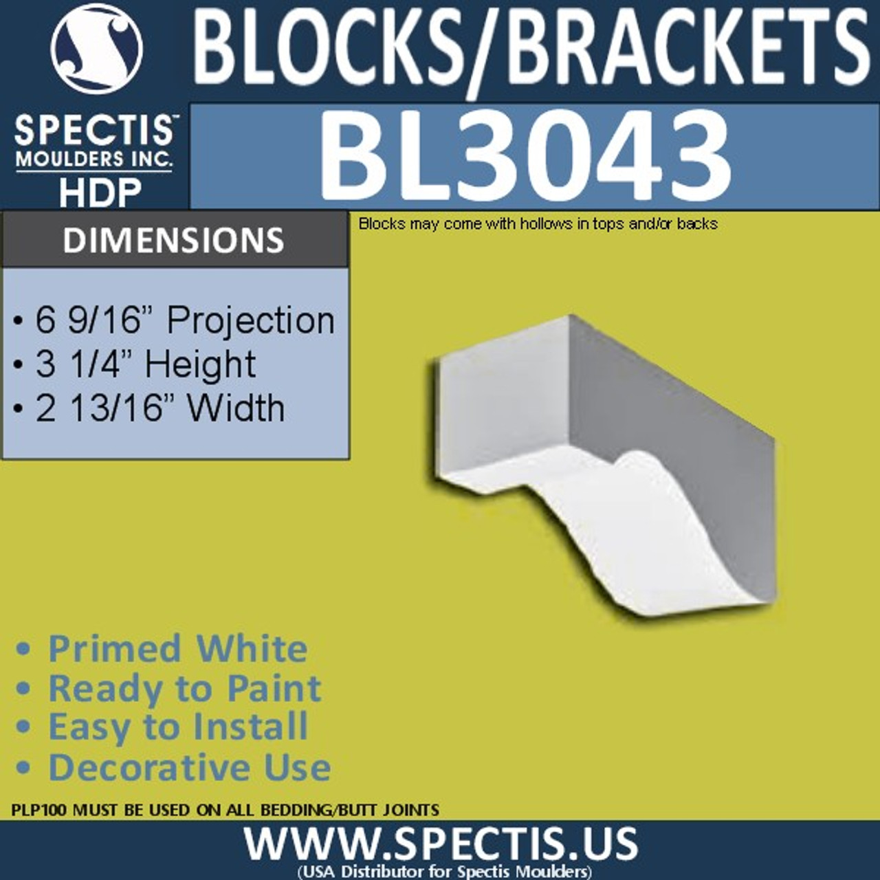 "BL3043 Eave Block or Bracket 2.81""W x 3.25""H x 6.56"" P"