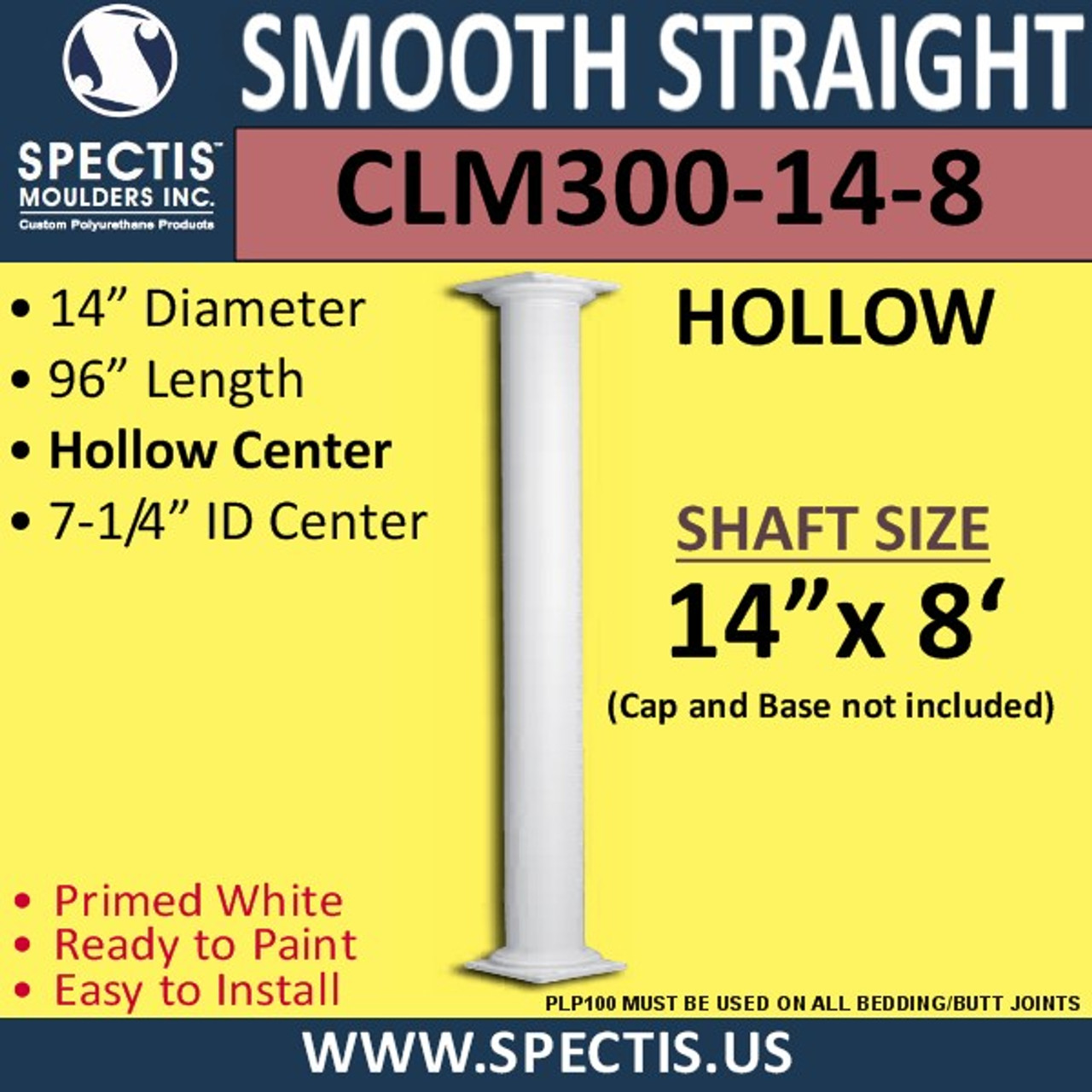 "CLM300-14-8 Smooth Straight Column 14"" x 96"""