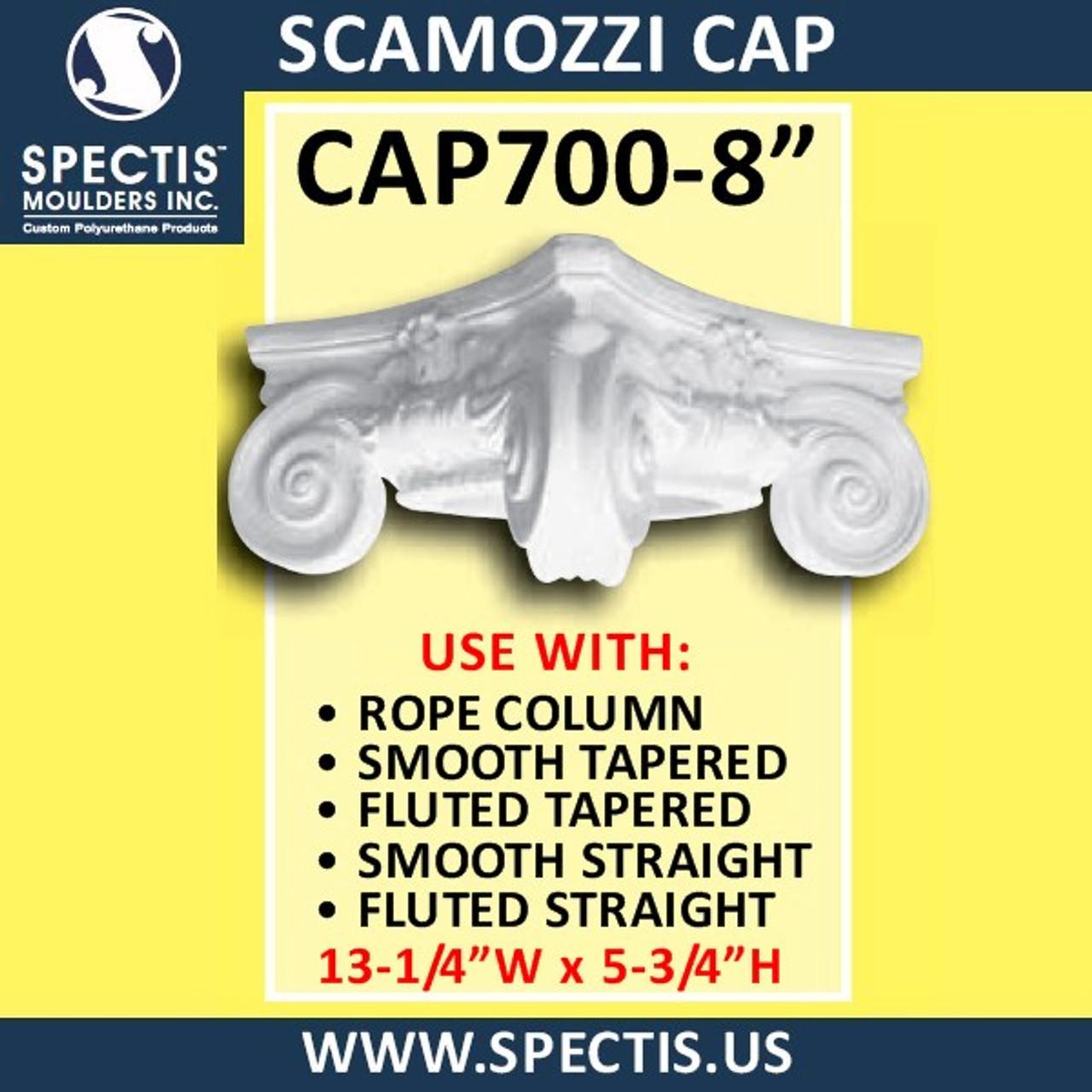 """CAP700-8 Scamozzi Cap 8 1/4"""" Hole x 13 1/4""""W x 5 3/4""""H"""