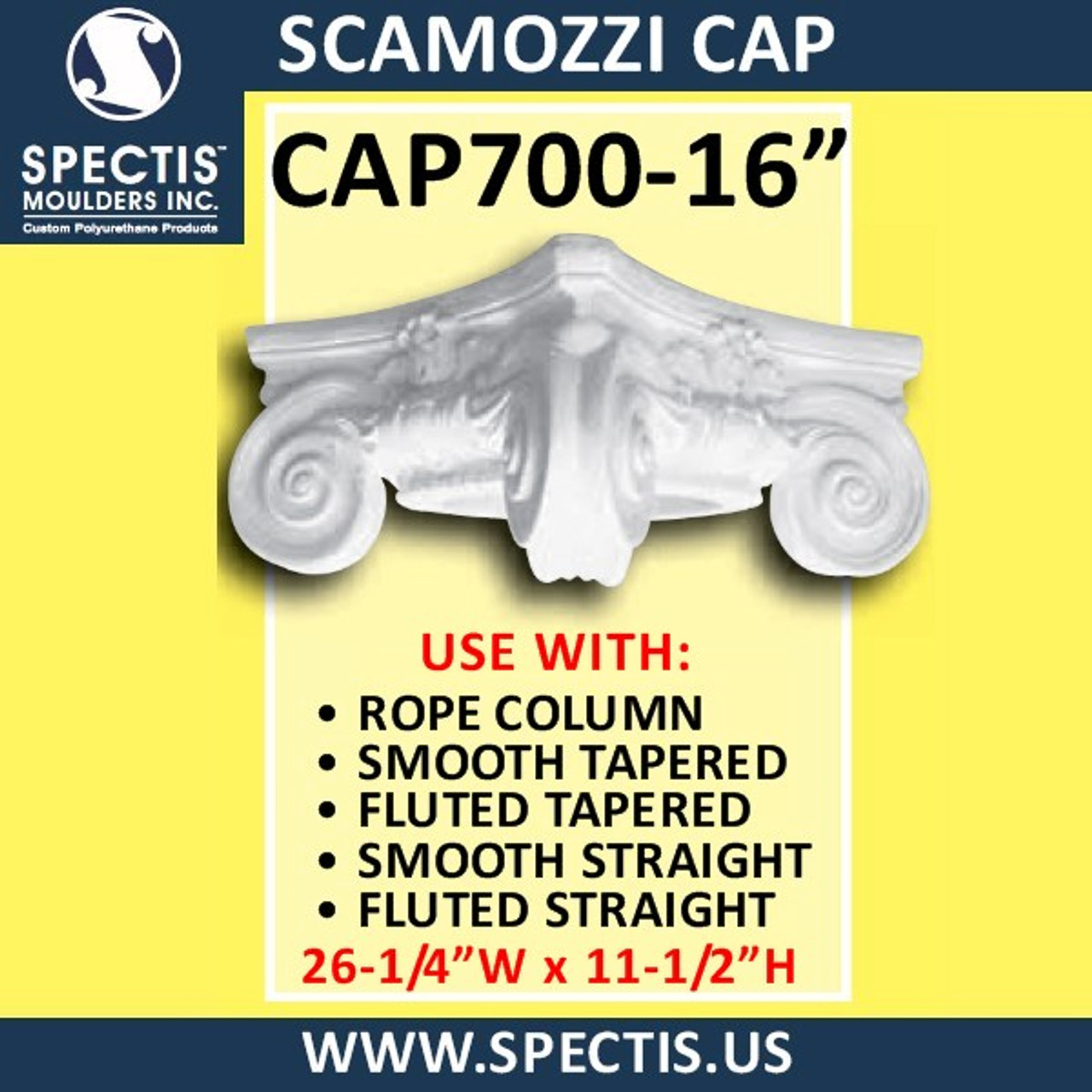 """CAP700-16 Scamozzi Cap 16 1/4"""" Hole x 26 1/4""""W x 11 1/2""""H"""
