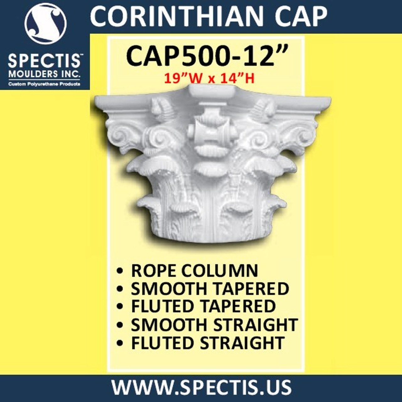 "CAP500-12 Corinthian Cap 19""W x 14""H for 12"" top column"