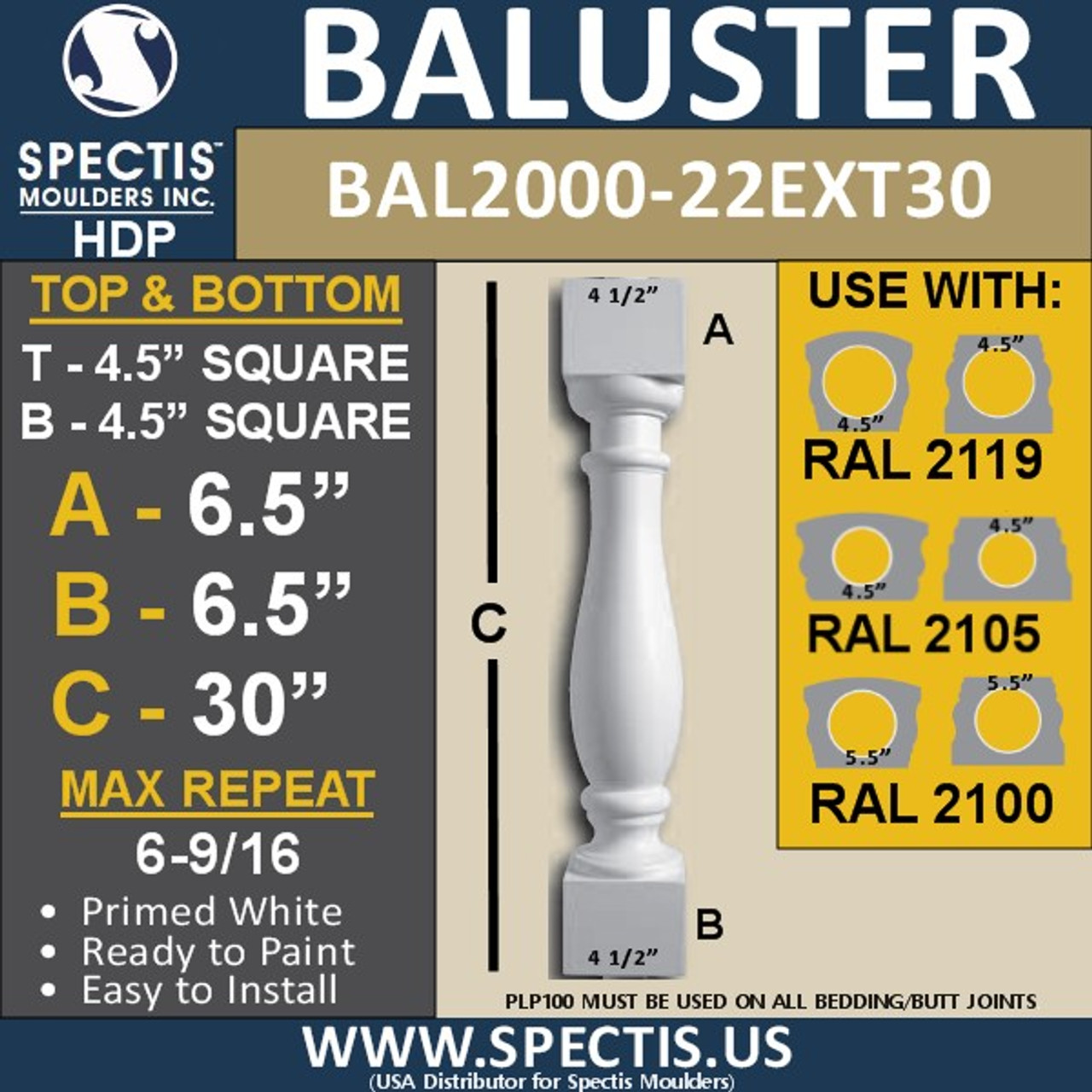 """BAL2000-22EXT30 Urethane Baluster or Spindle 4 1/2""""W X 30""""H"""