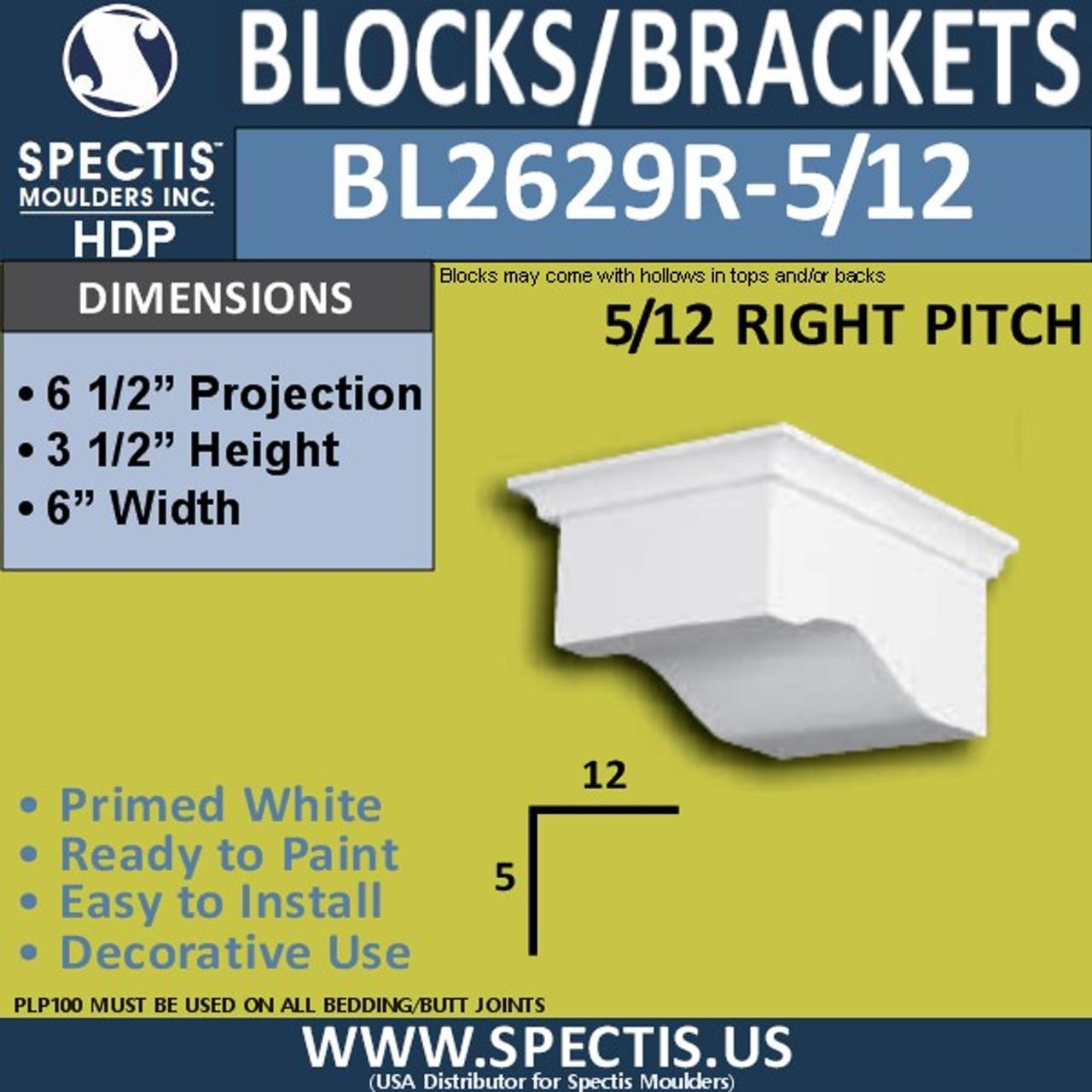 "BL2629R-5/12 Right Eave Block 6""W x 3.5""H x 6.5"" P"
