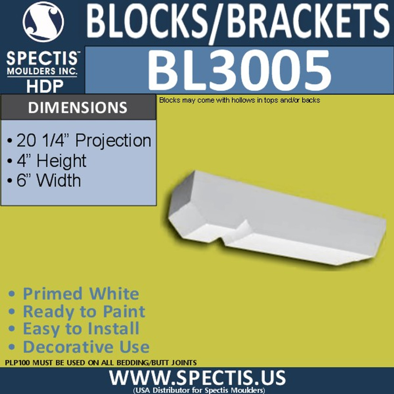"BL3005 Eave Block or Bracket 6""W x 4""H x 20.25""P"