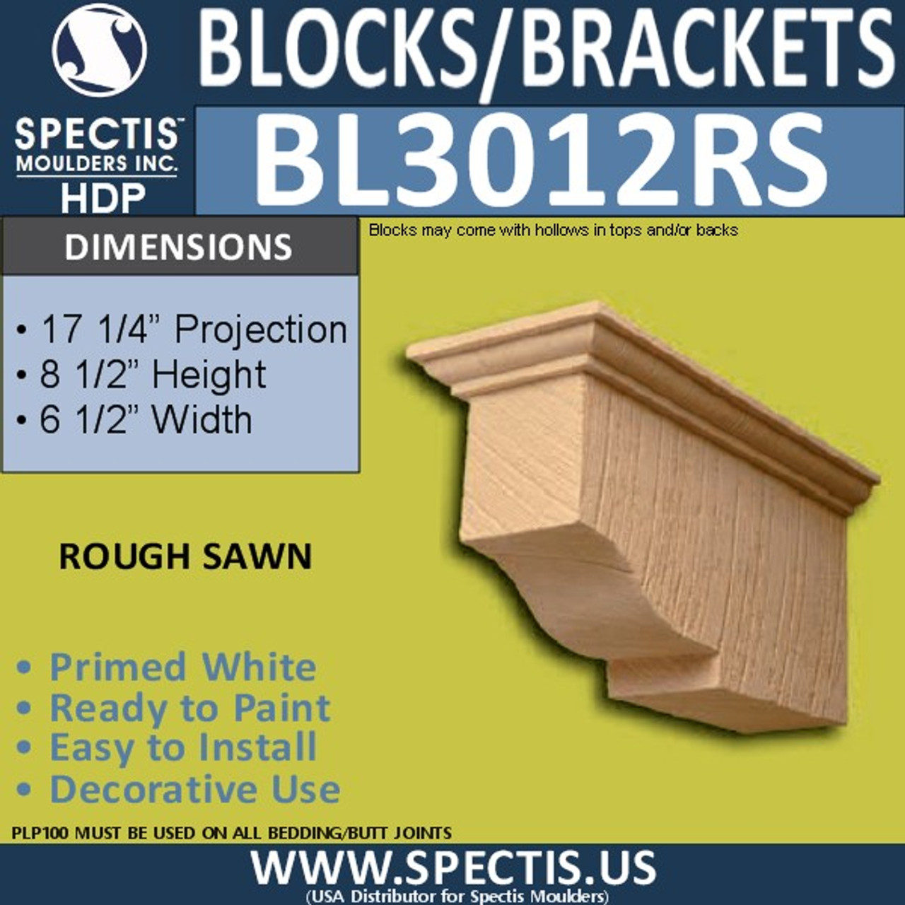"BL3012RS Rough Sawn Eave Block or Bracket 6.5""W x 8.5""H x 17.25""P"