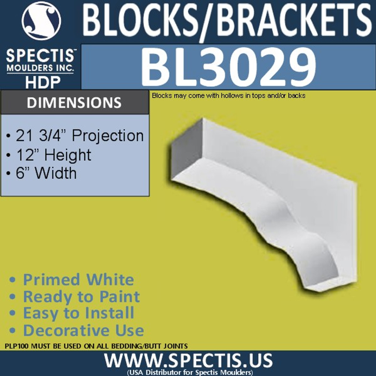 "BL3029 Eave Block or Bracket 6""W x 12""H x 21.75"" P"