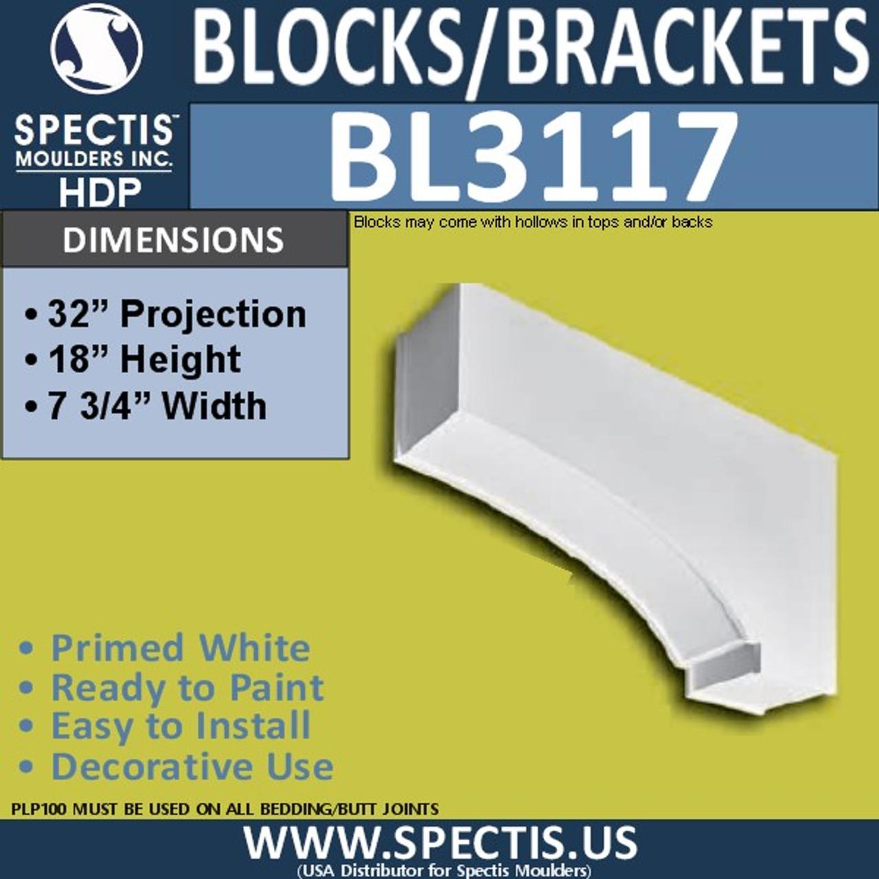 "BL3117 Eave Block or Bracket 7.75""W x 18""H x 32""P"