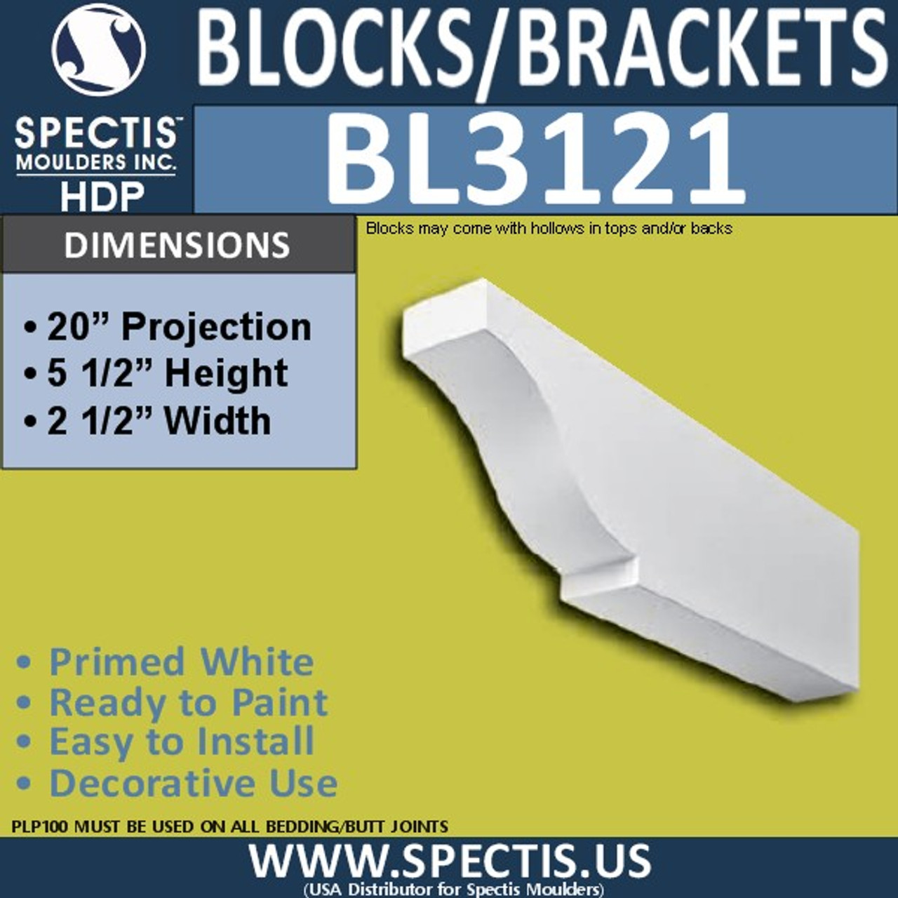 "BL3121 Eave Block or Bracket 2.5""W x 5.5""H x 20""P"