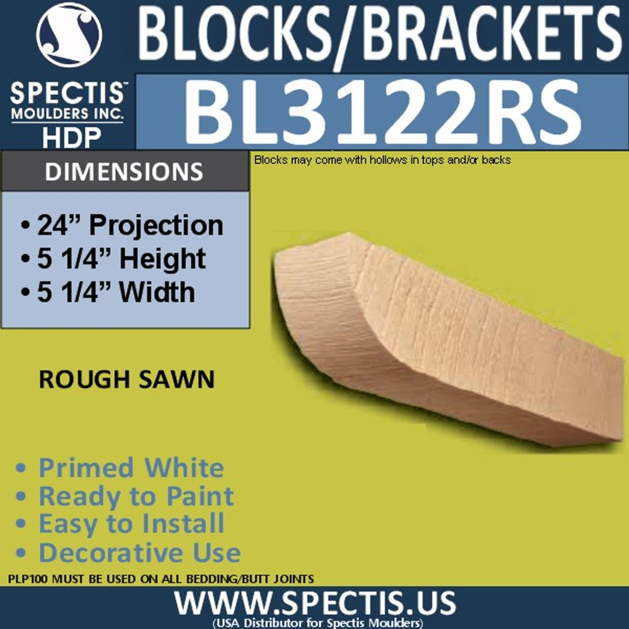 "BL3122RS Rough Sawn Eave Block or Bracket 5.25""W x 5.25""H x 24""P"