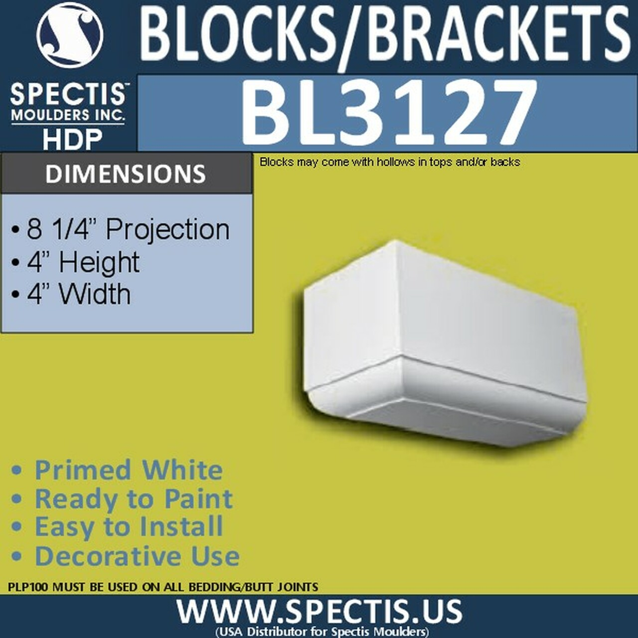 "BL3127 Eave Block or Bracket 4""W x 4""H x 8""P"
