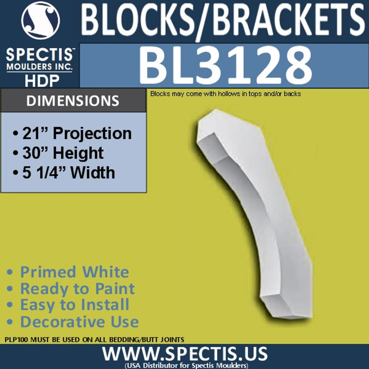 "BL3128 Eave Block or Bracket 5.25""W x 30""H x 21""P"