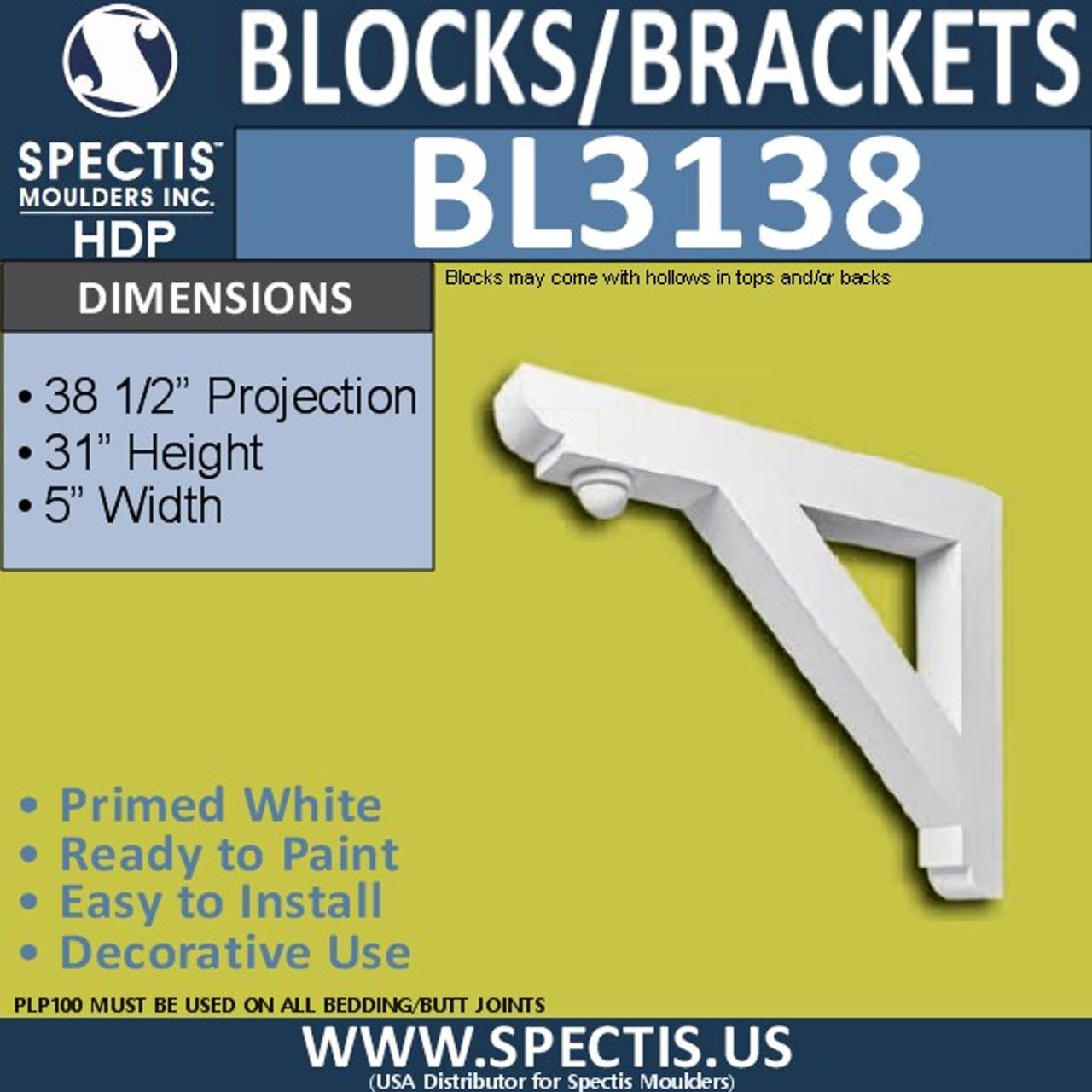 "BL3138 Eave Block or Bracket 5""W x 31""H x 38.5""P"