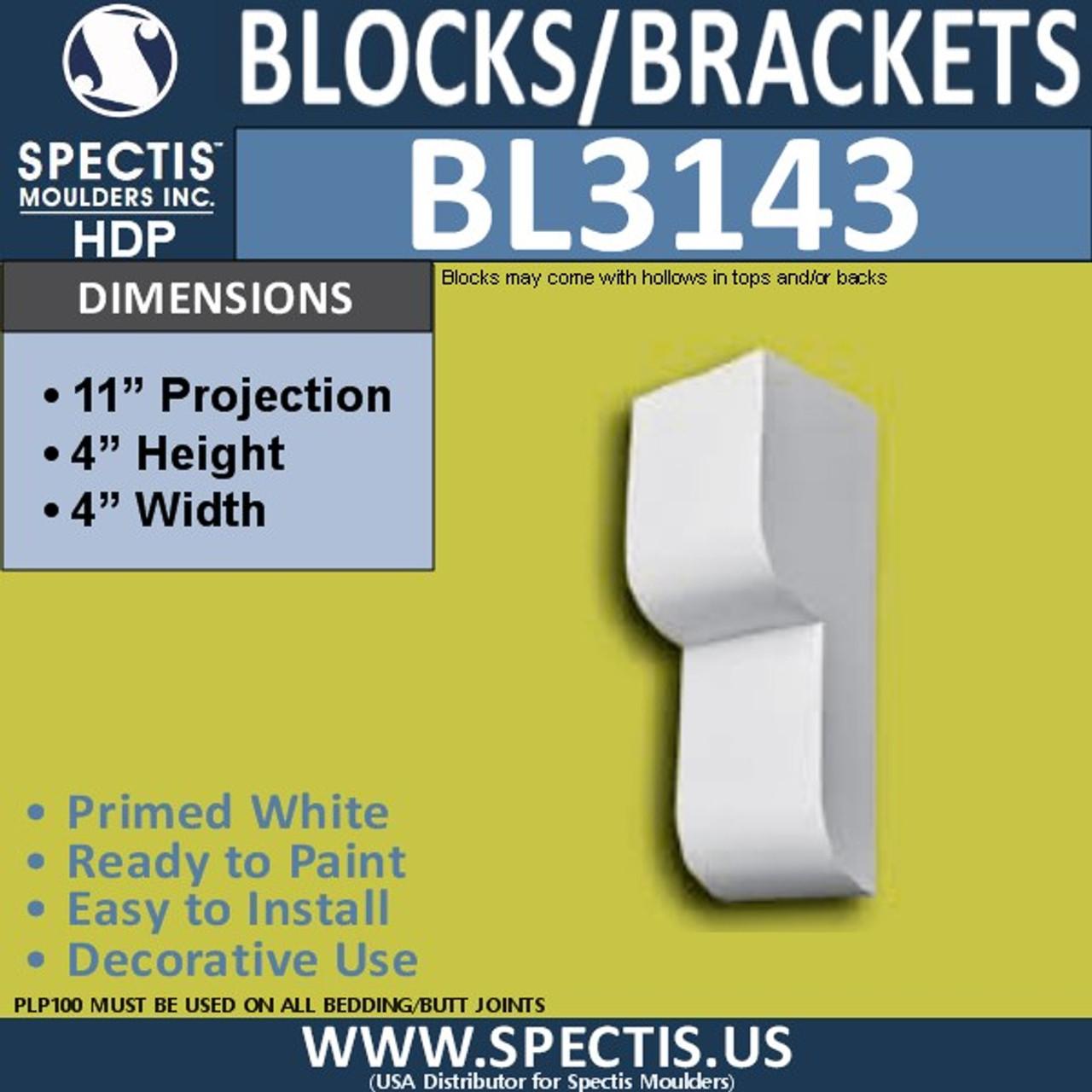 "BL3143 Eave Block or Bracket 4""W x 4""H x 11""P"