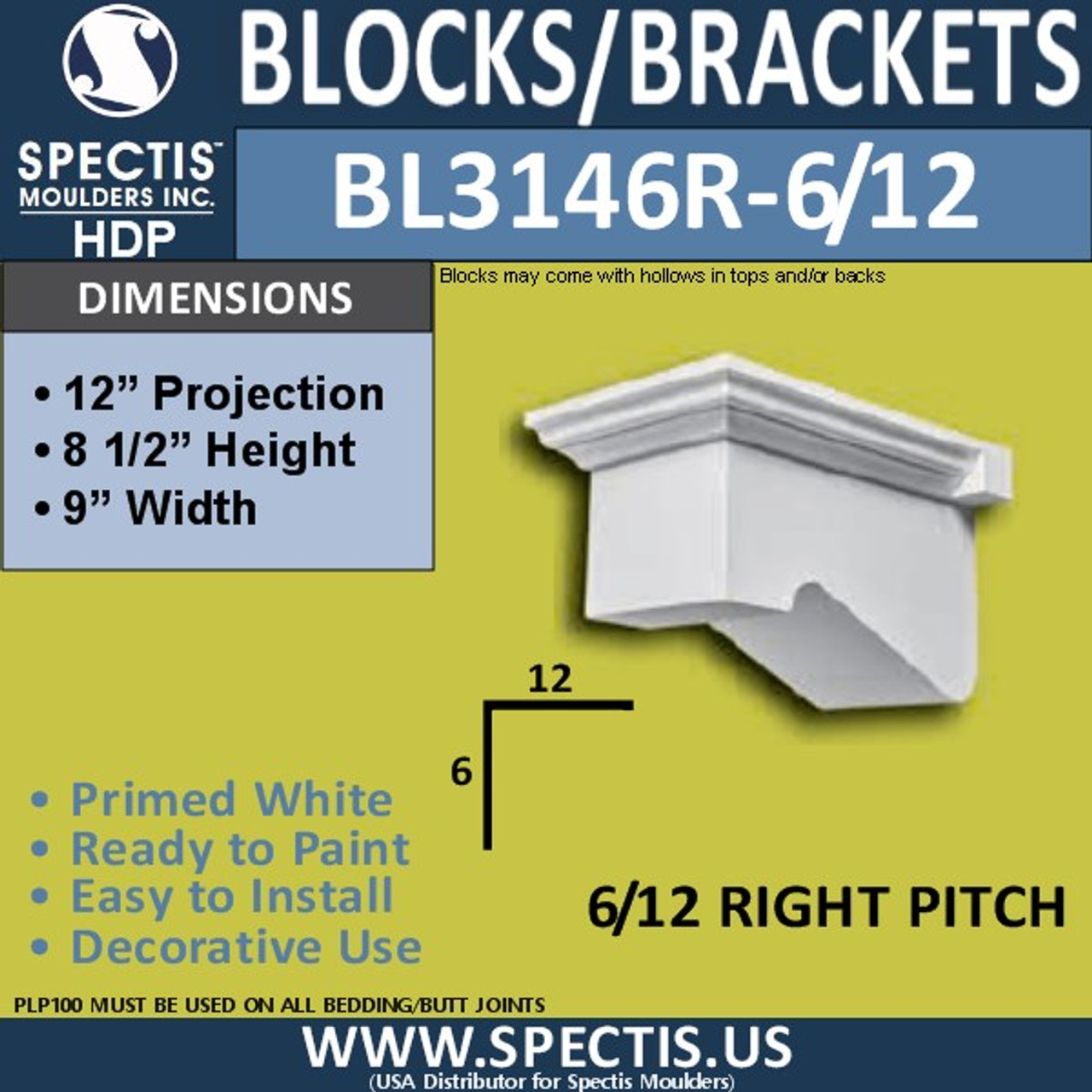 "BL3146R-6/12 Pitch Eave Block or Bracket 9""W x 8.5""H x 12""P"