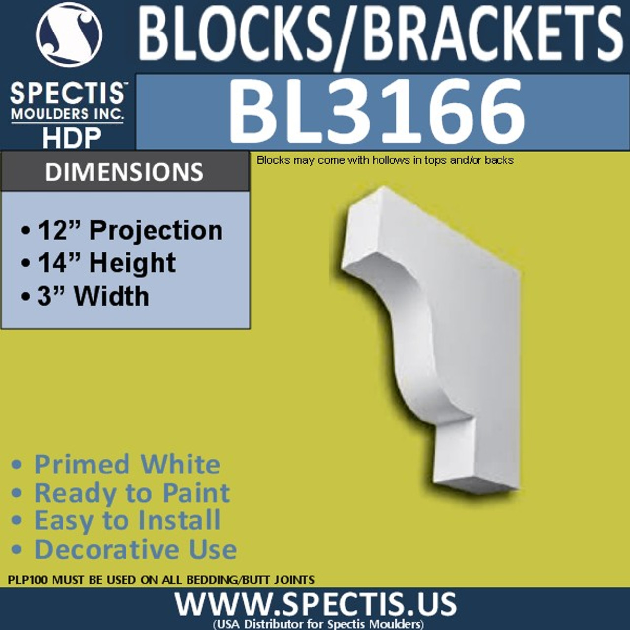 "BL3166 Eave Block or Bracket 3""W x 14""H x 12""P"