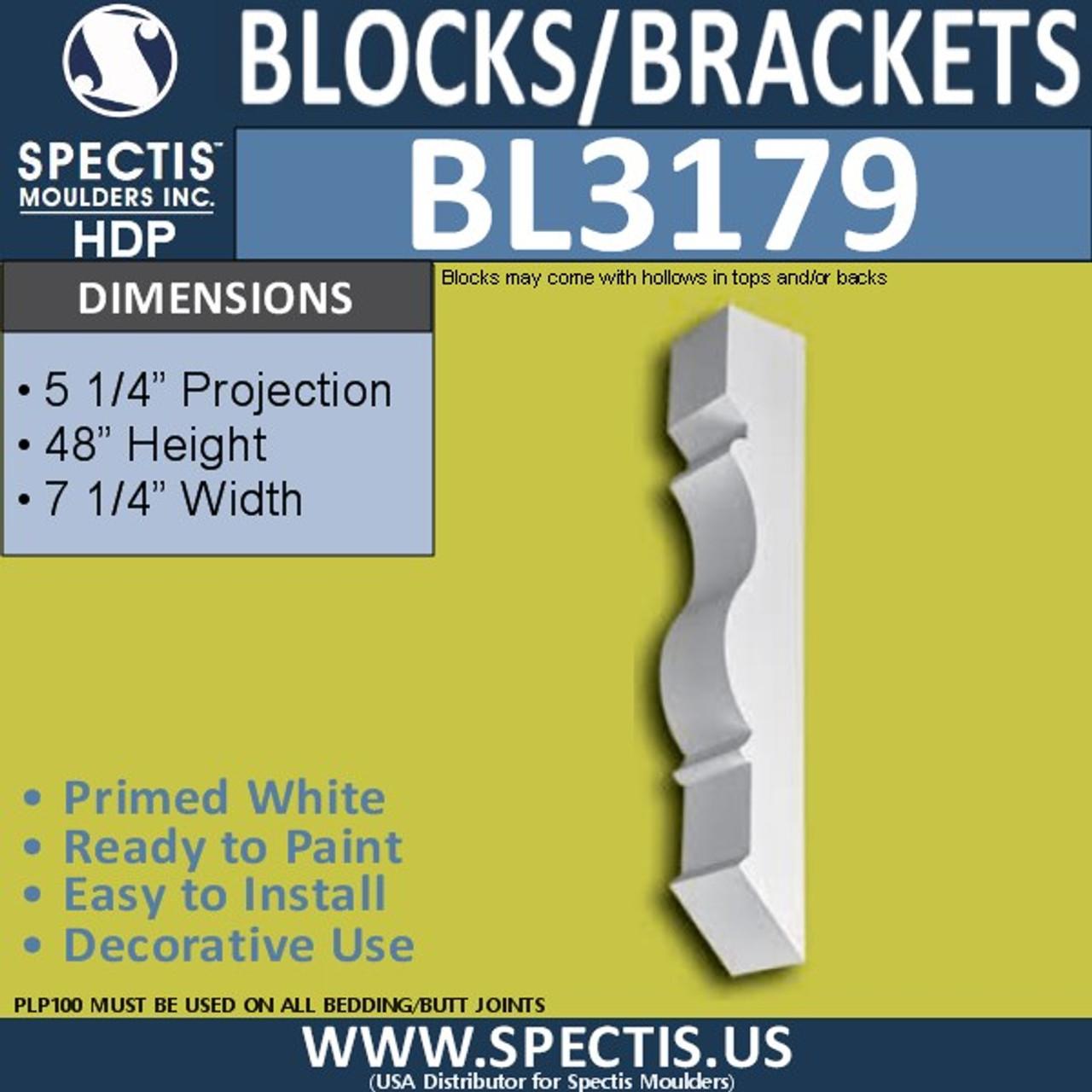 "BL3179 Eave Block or Bracket 7.25""W x 48""H x 5.25""P"