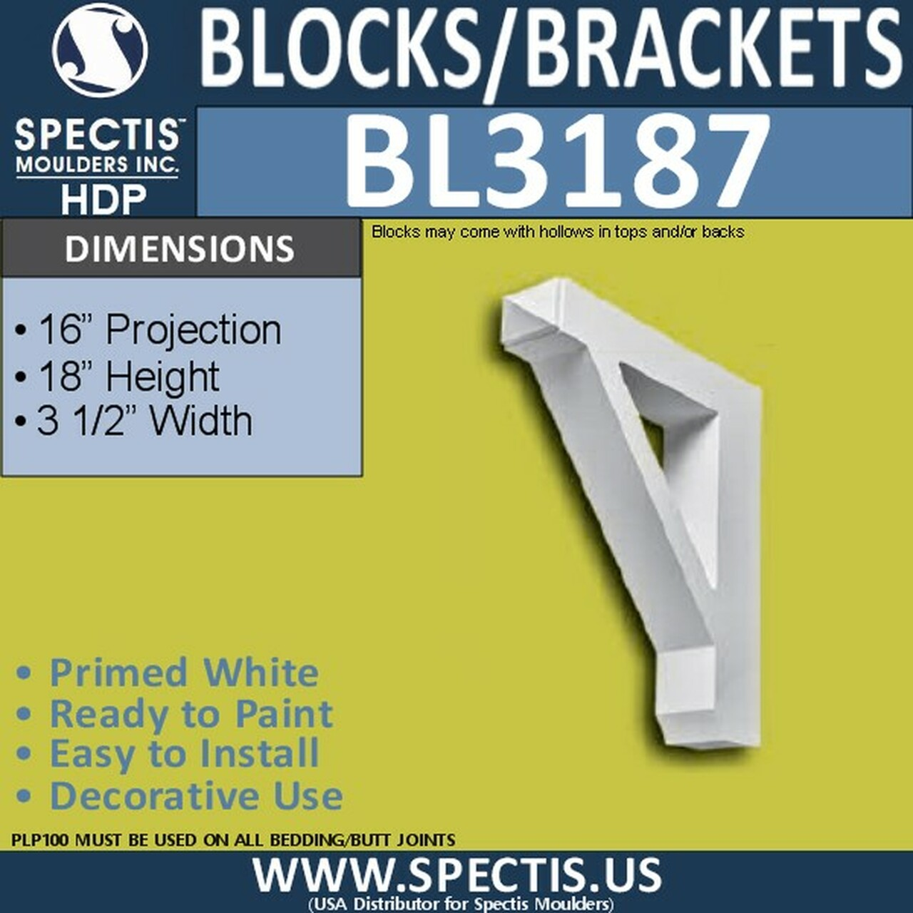 "BL3187 Eave Block or Bracket 3.5""W x 18""H x 16""P"