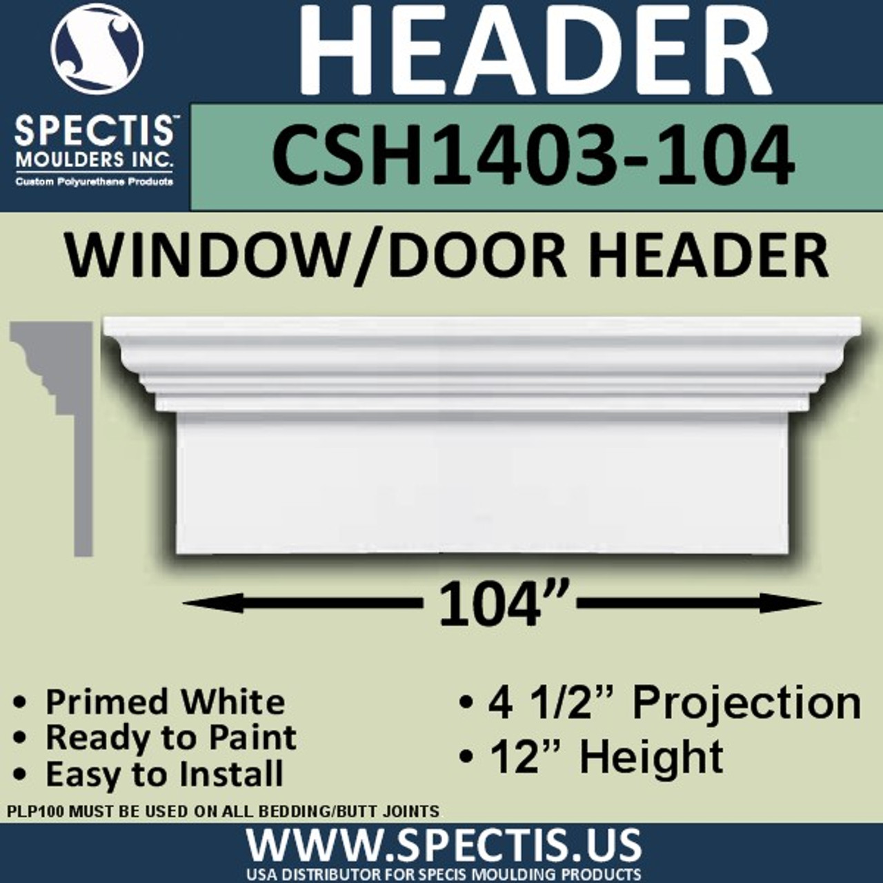 "CSH1403-104 Crosshead for Window/Door 4.5""P x 12""H x 104""W"
