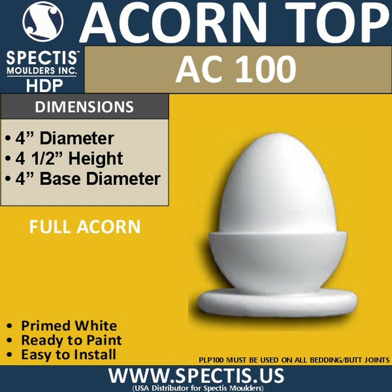 """AC100 Spectis Urethane Acorn Post Top Cap 4"""""""