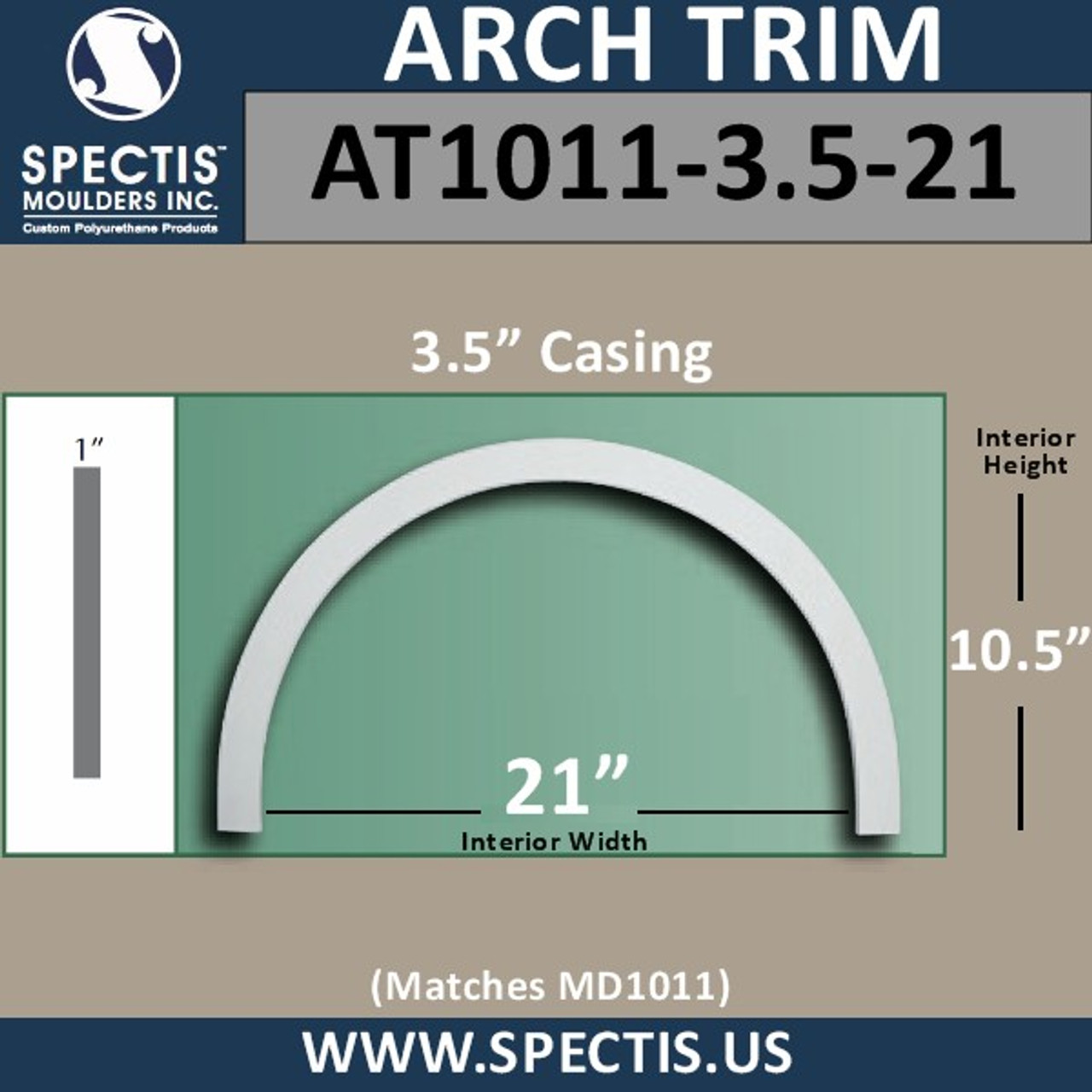 """AT1011-3.5-21 Arch Top Circle 3.5"""" Wide - Fits 21"""" Opening"""