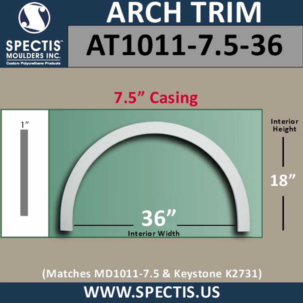 """AT1011-7.5-36 Arch Top Circle 7.5"""" Casing Fits 36"""" Opening"""