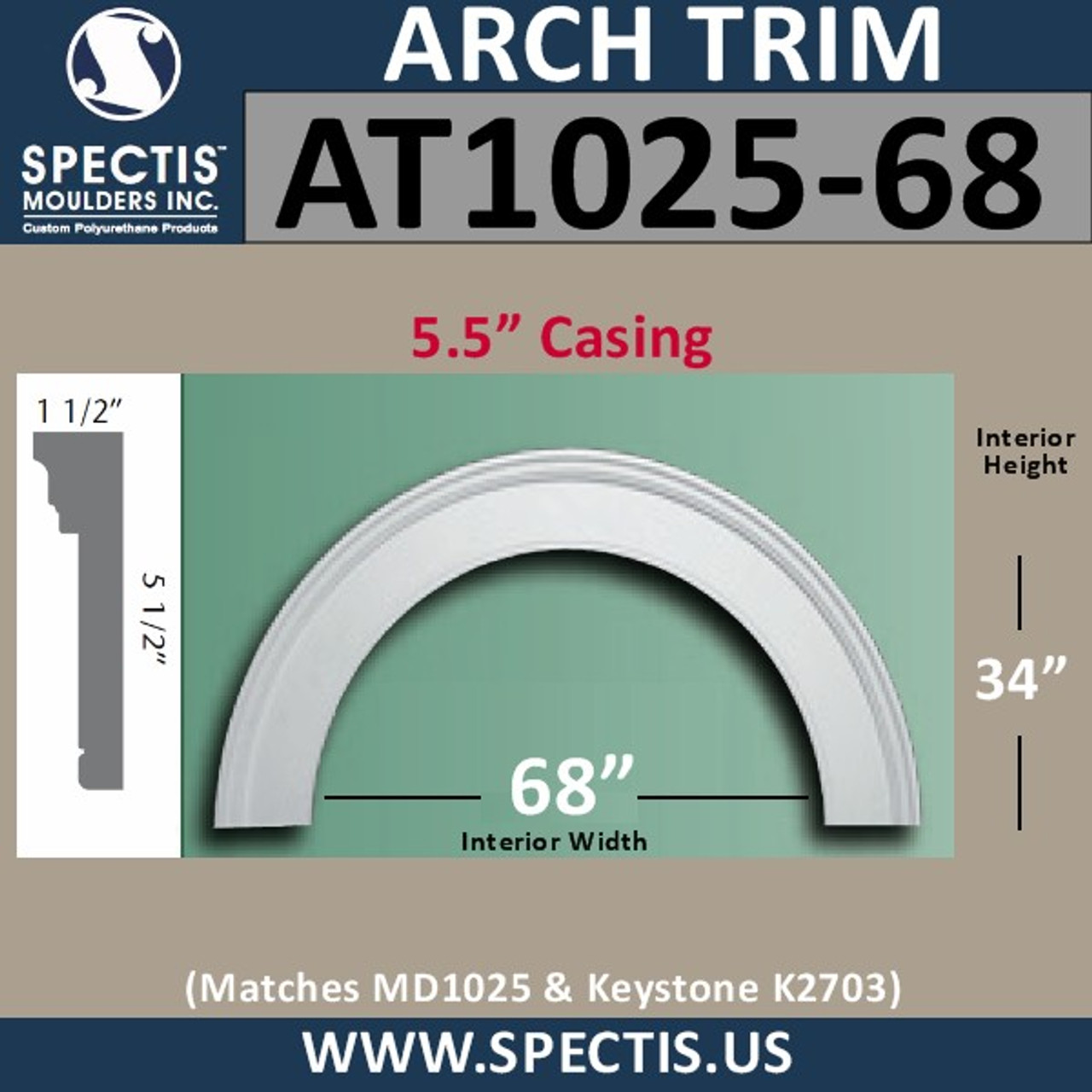 "AT1025-68 Arch Circle Top with 68"" Opening"