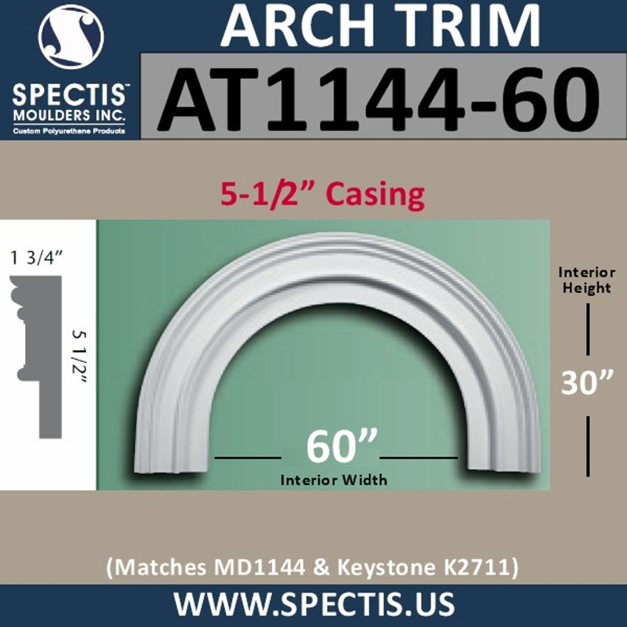 """AT1144-60 Arch Circle Top 5.5"""" Wide Casing Fits 60"""" Opening"""