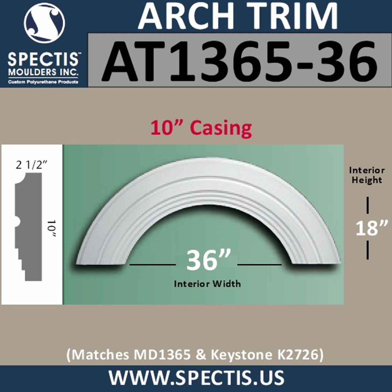 "AT1365-36 Arch Circle Top 10"" Wide Casing 36"" Opening"