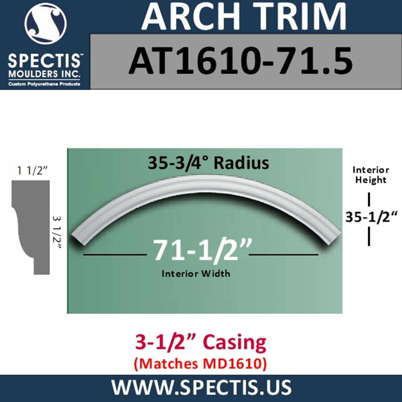 "AT1610-71.5 Arch Circle Top 3.5"" Casing Fits 71.5"" Opening"