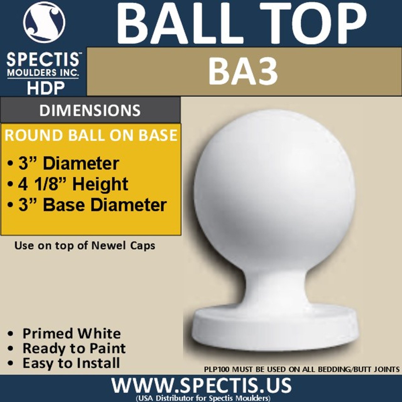 "BA3 Urethane Ball Cap for Newel Post 3"" Wide"