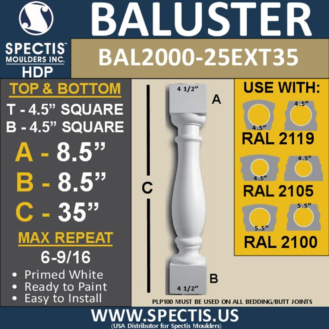 "BAL2000-25ext35 Urethane Baluster or Spindle 4 1/2""W X 35""H"