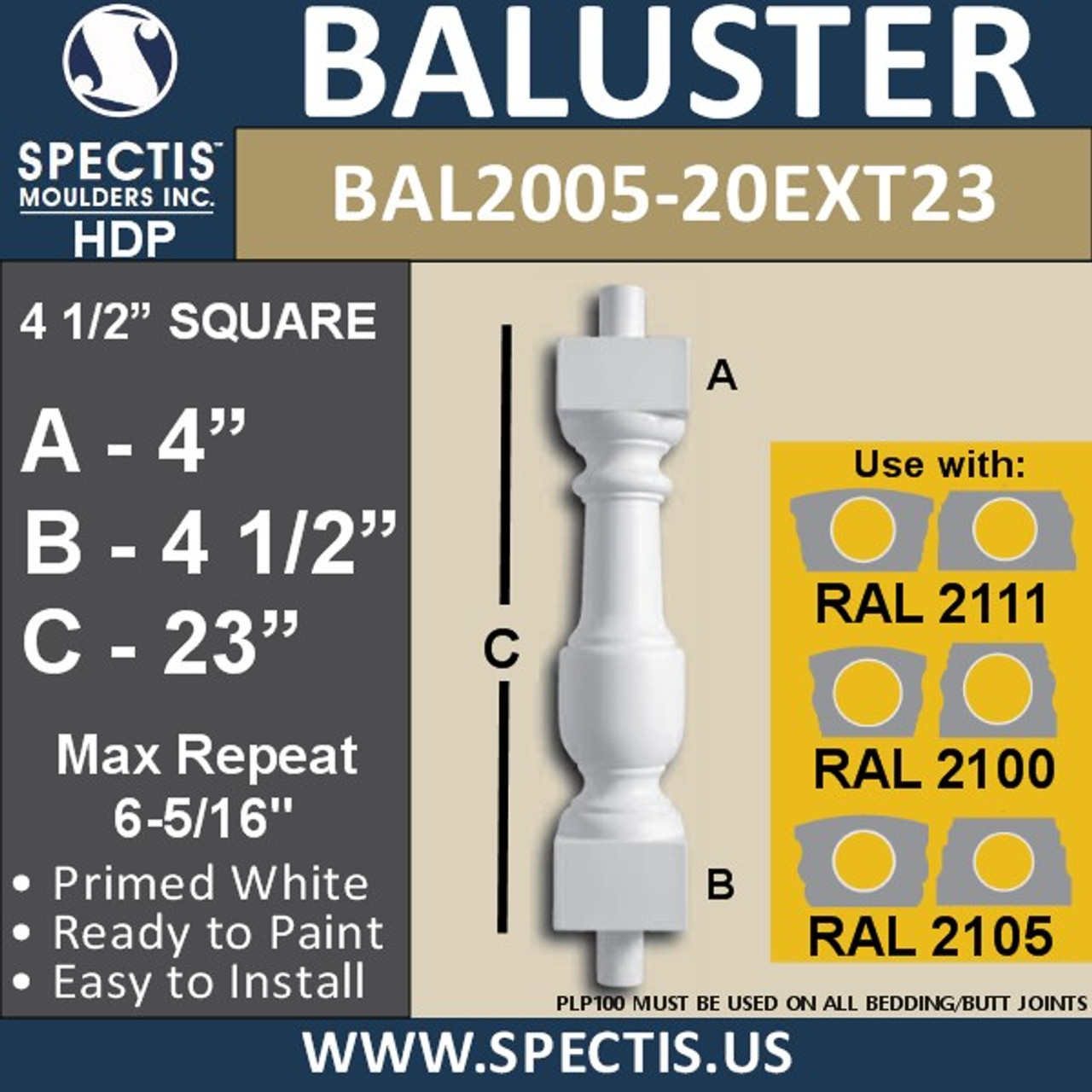 "BAL2005-20EXT23 Urethane Baluster or Spindle 4 1/2""W X 23""H"