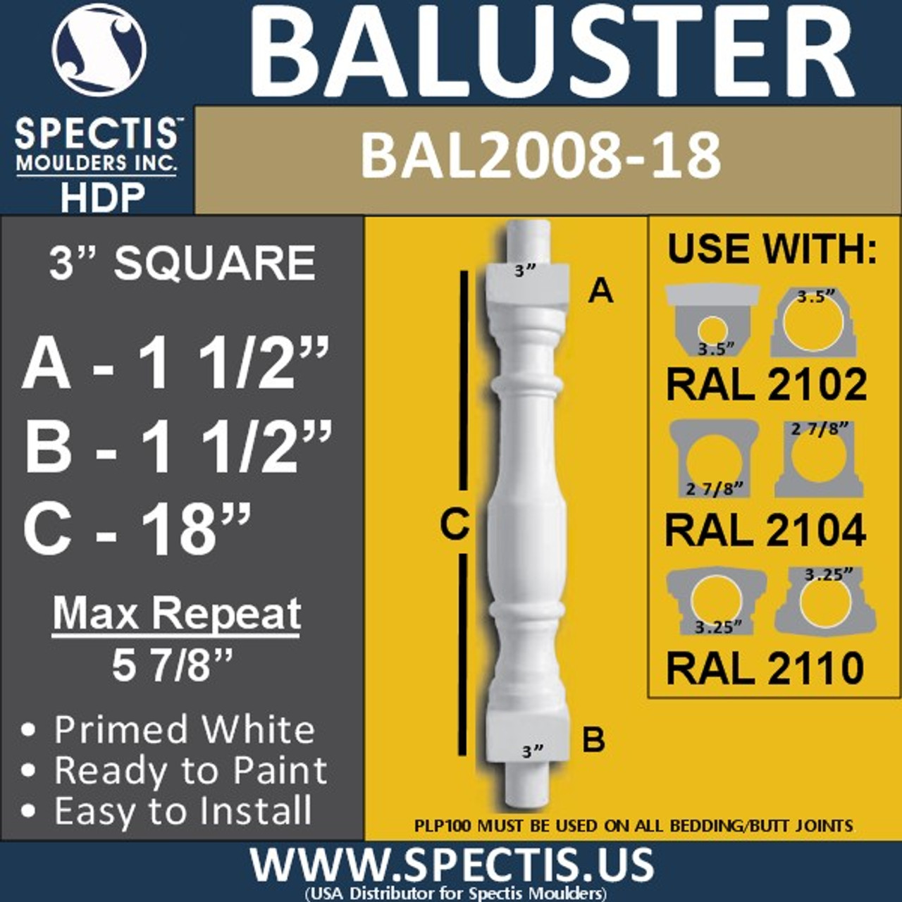 """BAL2008-18 Urethane Baluster or Spindle 3""""W X 18""""H"""