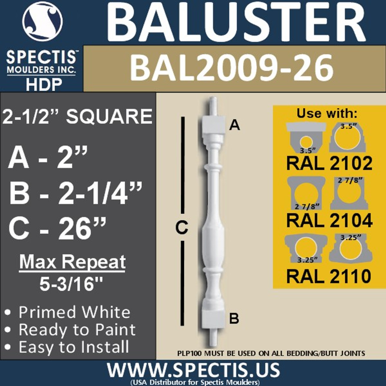 """BAL2009-26 Urethane Baluster or Spindle 2 1/2""""W X 26""""H"""