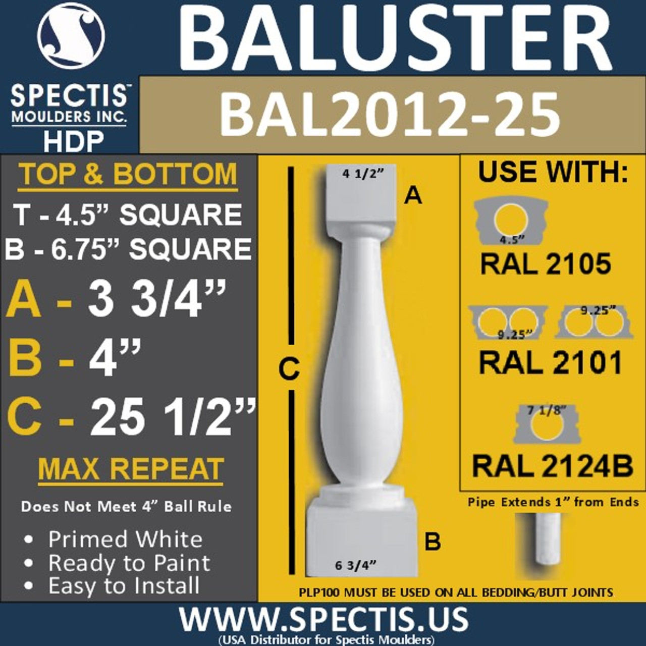 "BAL2012-25 Urethane Baluster or Spindle 4 1/2""W X 25""H"