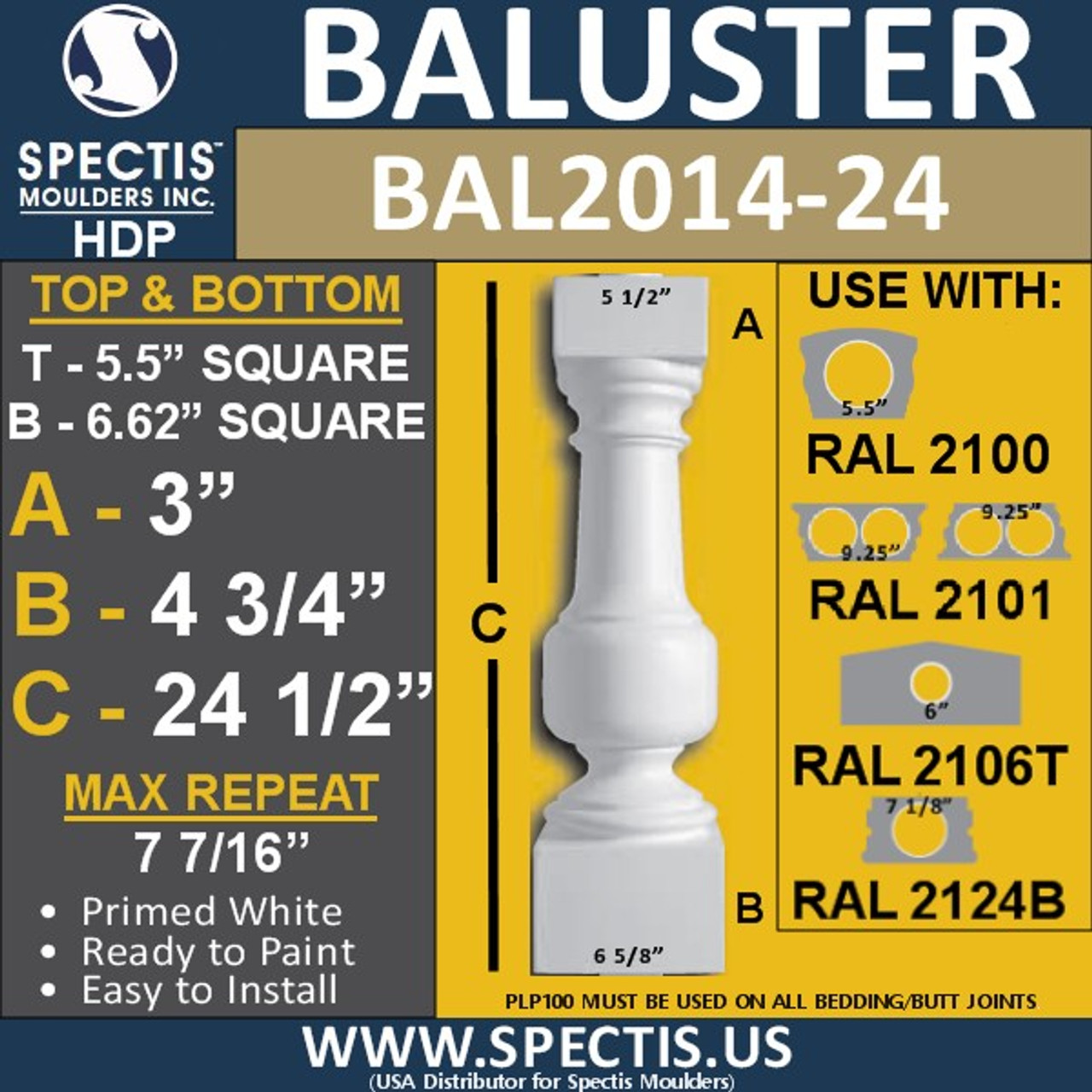 """BAL2014-24 Urethane Baluster or Spindle 5 1/2""""W X 24 1/2""""H"""