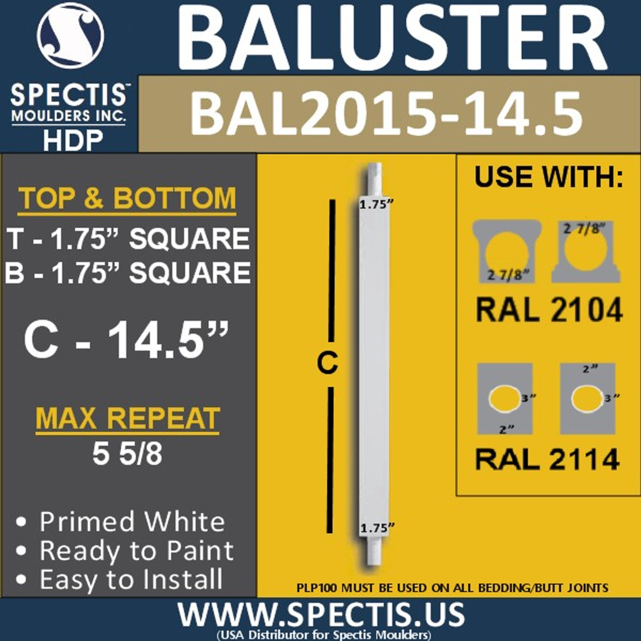 """BAL2015-14.5 Urethane Baluster or Spindle 1 3/4""""W X 14 1/2""""H"""