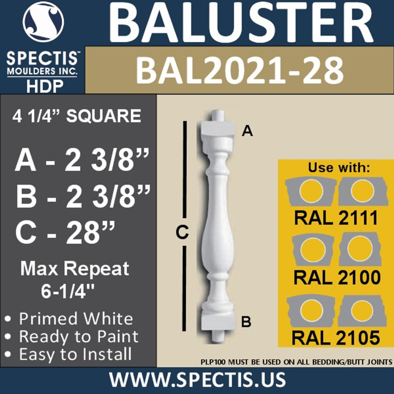 """BAL2021-28 Urethane Baluster or Spindle 4 1/4""""W X 28""""H"""