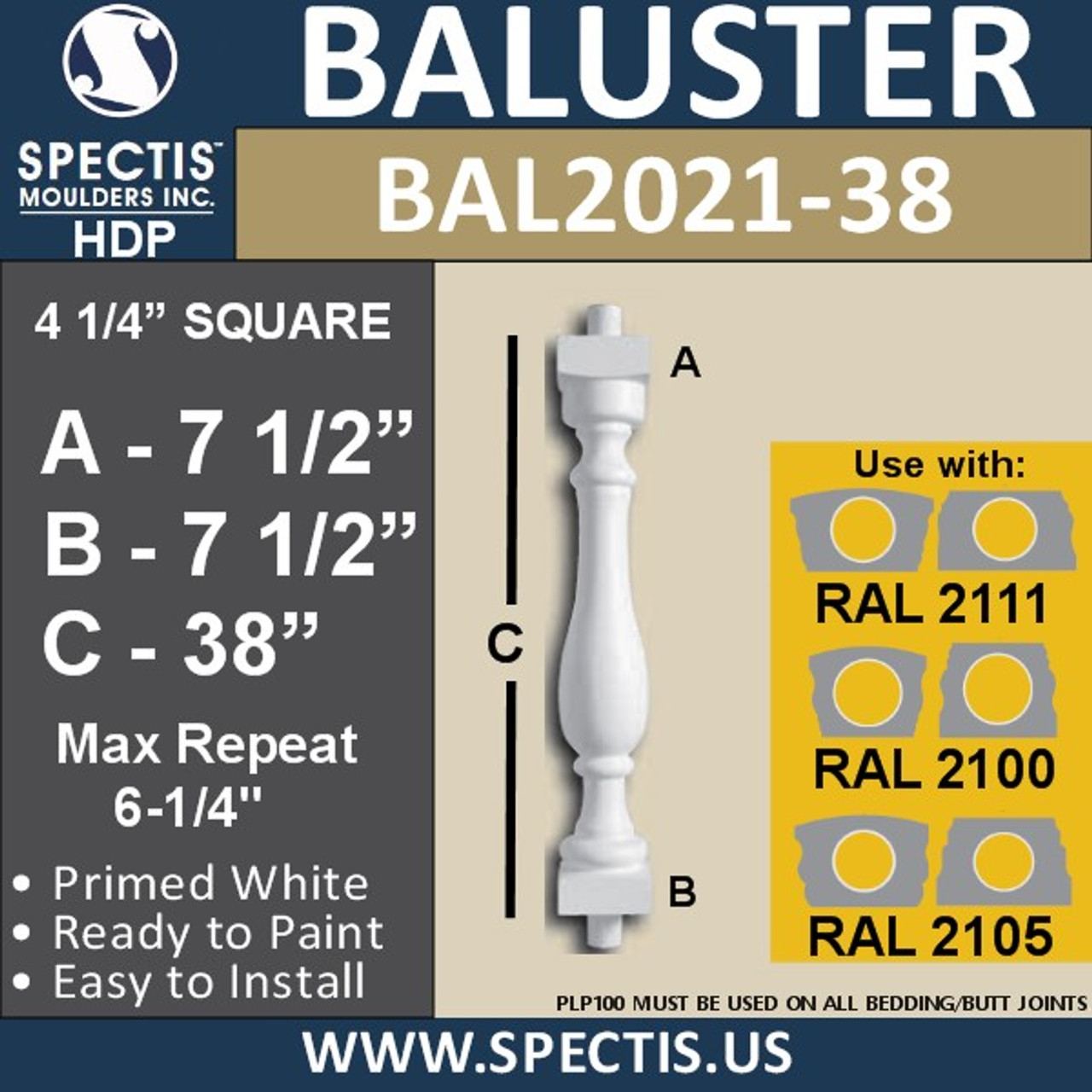 """BAL2021-38 Urethane Baluster or Spindle 4 1/4""""W X 38""""H"""