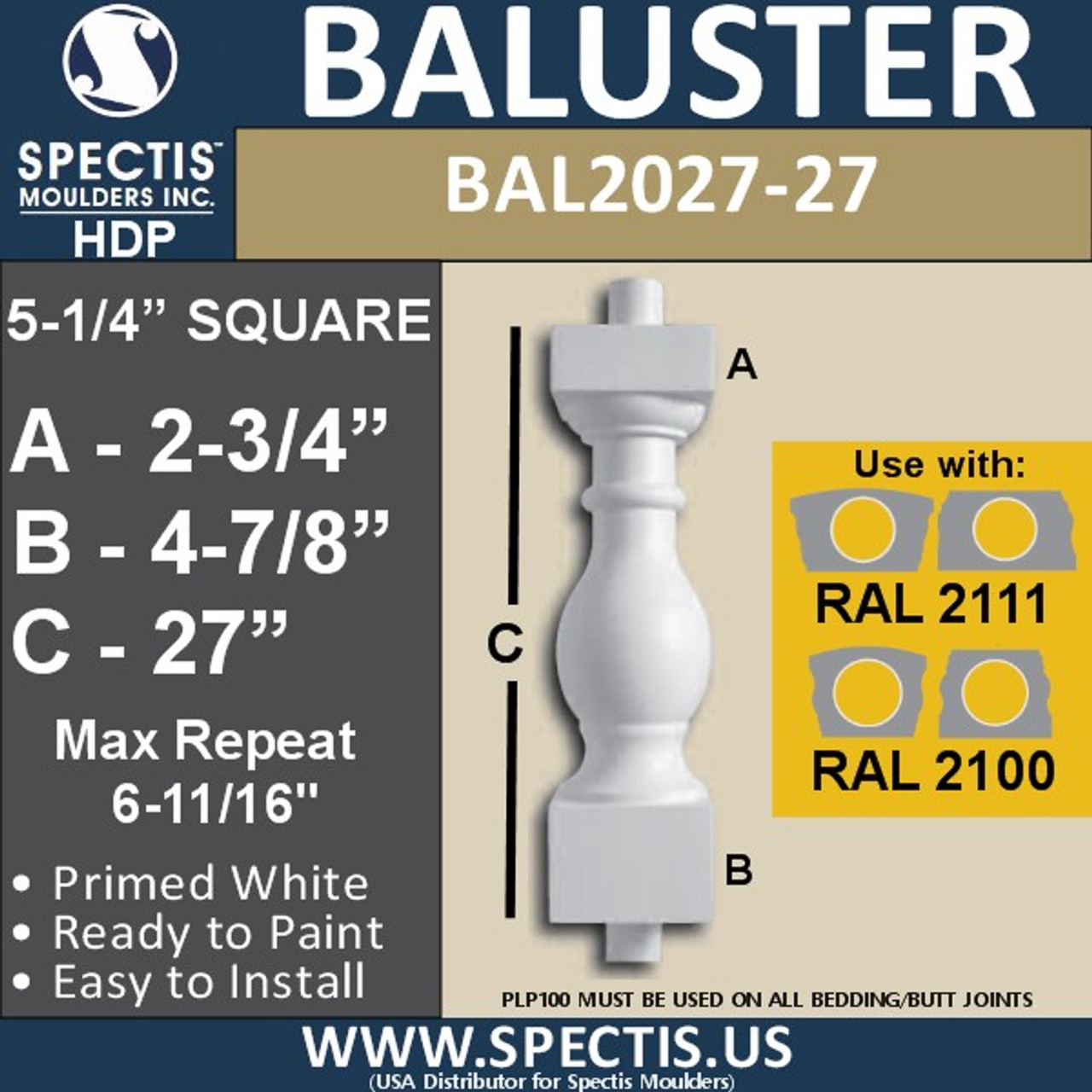 """BAL2027-27 Urethane Baluster or Spindle 5 1/4""""W X 27""""H"""