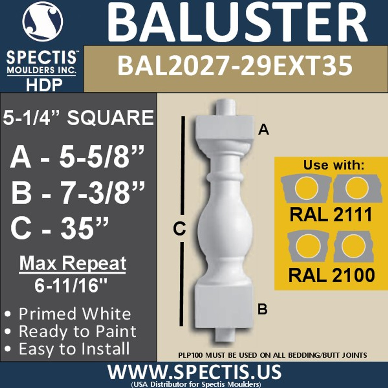 "BAL2027-29EXT35 Urethane Extended Baluster 5 1/4""W X 35""H"