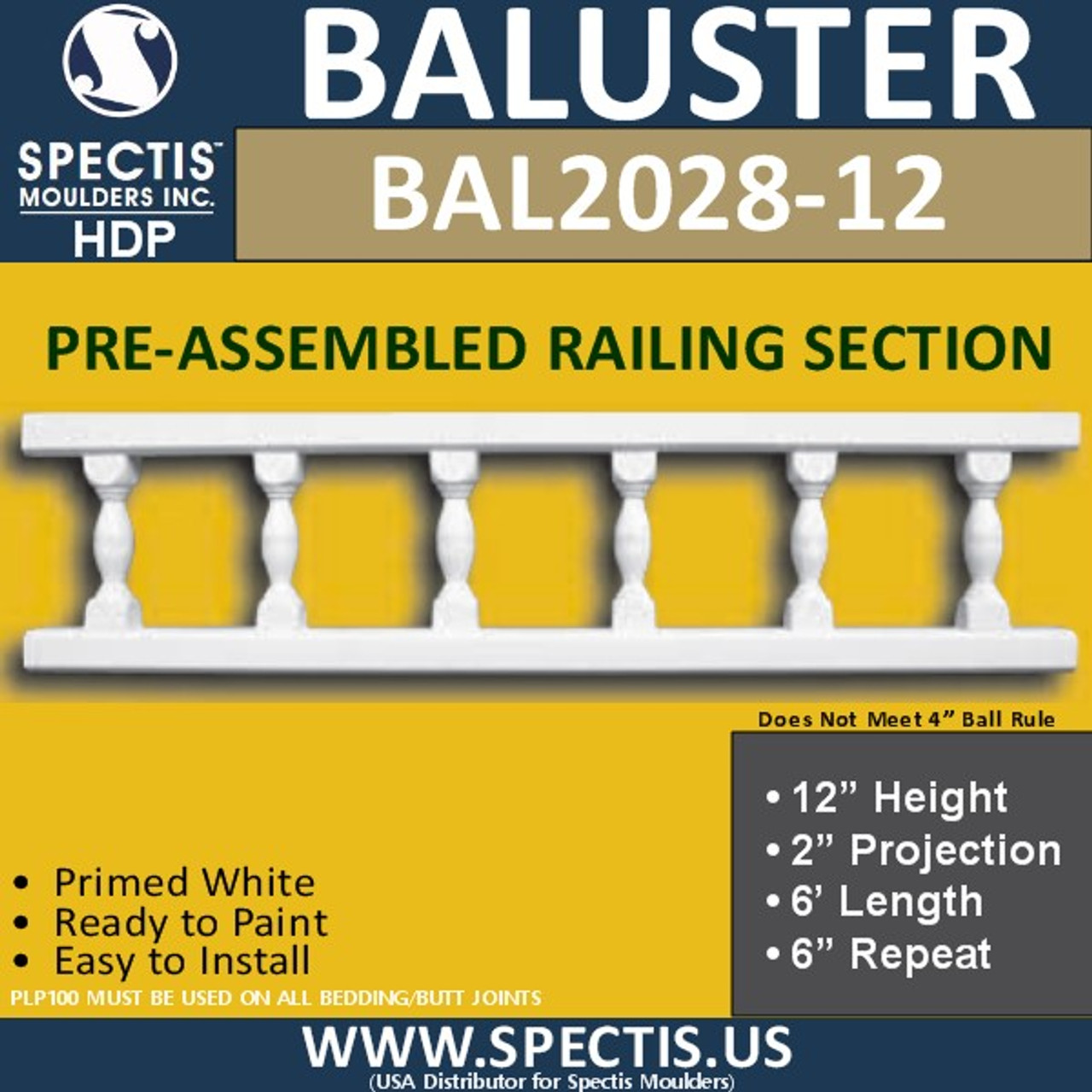 "BAL2028-12 Assembled Balusters 12""H X 2""P X 6'L X 6""Repeat"