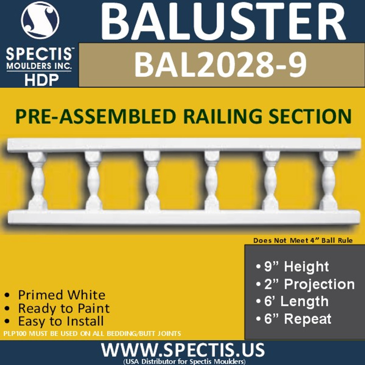 "BAL2028-9 Assembled Balusters 9""H X 2""P X 6'L X 6""Repeat"