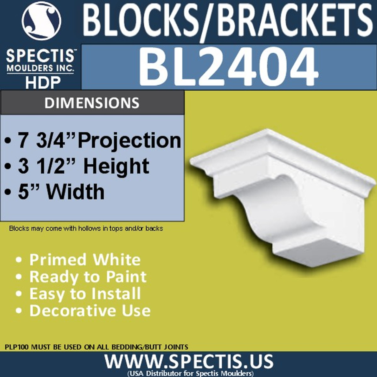 "BL2404 Corbel Block or Eave Bracket 5""W x 3.5""H x 7.75"" P"